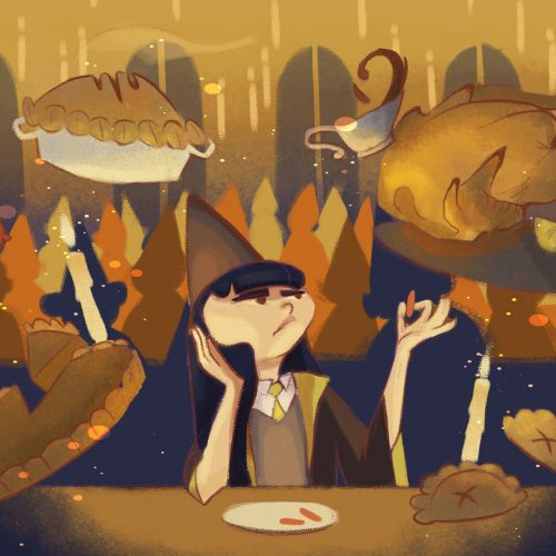Illustration by Veronica Chen of a vegan wizard at Hogwarts