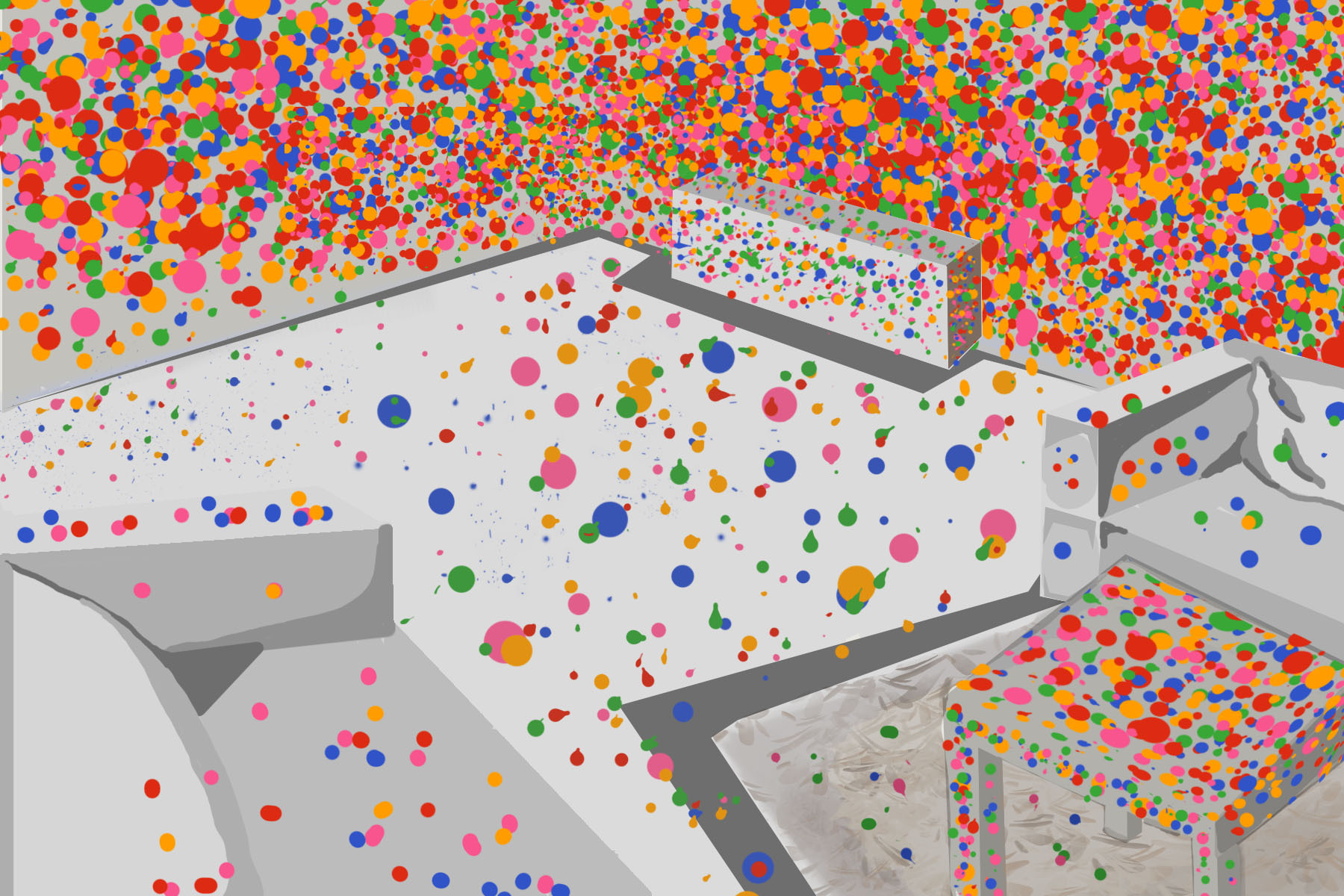 An artistic depiction of Kusama's 3D artwork of a room covered in polka dots.