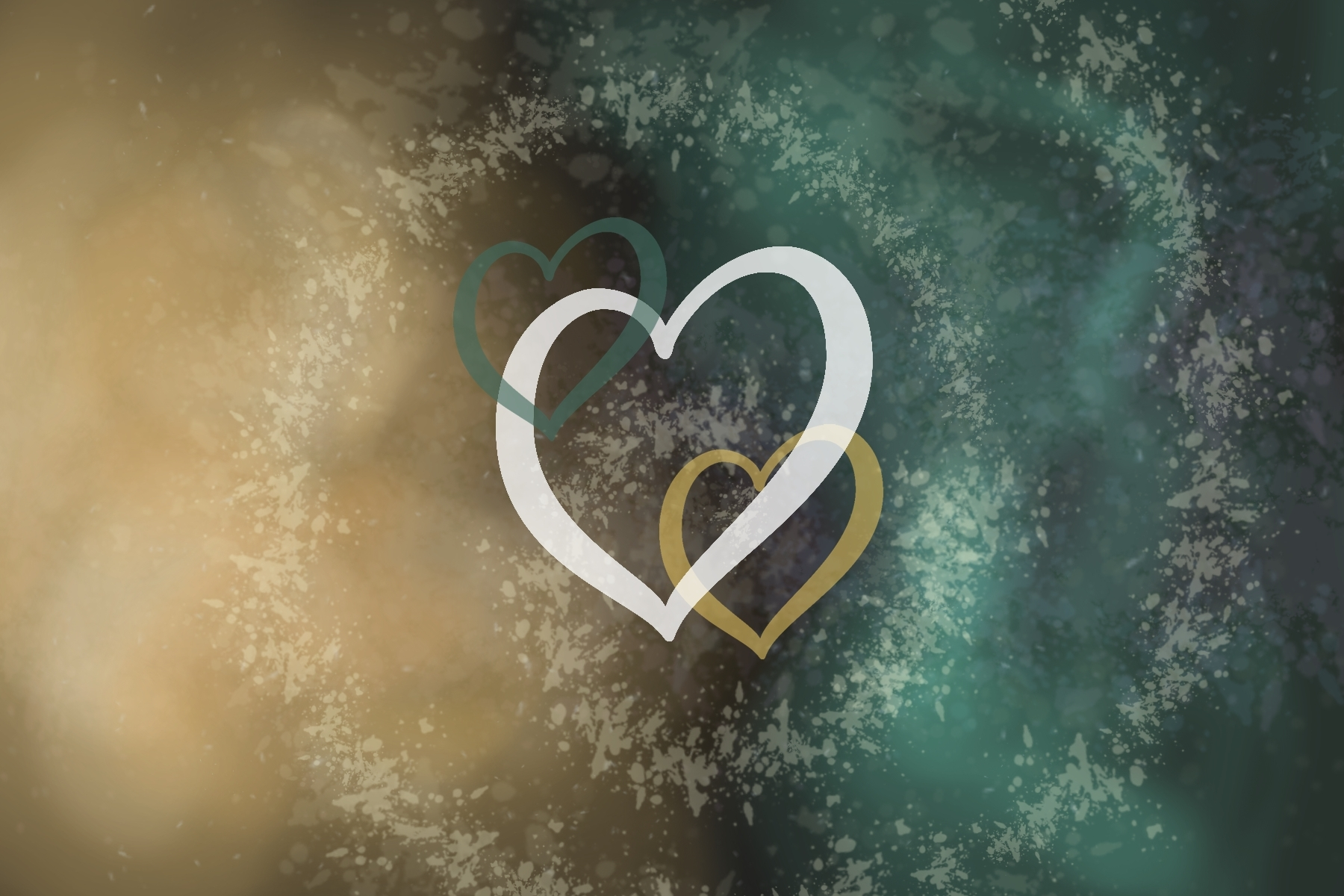 Illustration of heart outlines over a green and gold background, representing the Eurovision Song Contest