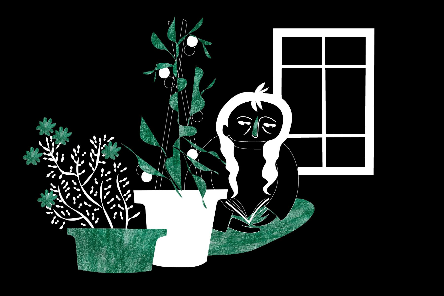 Illustration of a woman beside her indoor garden.