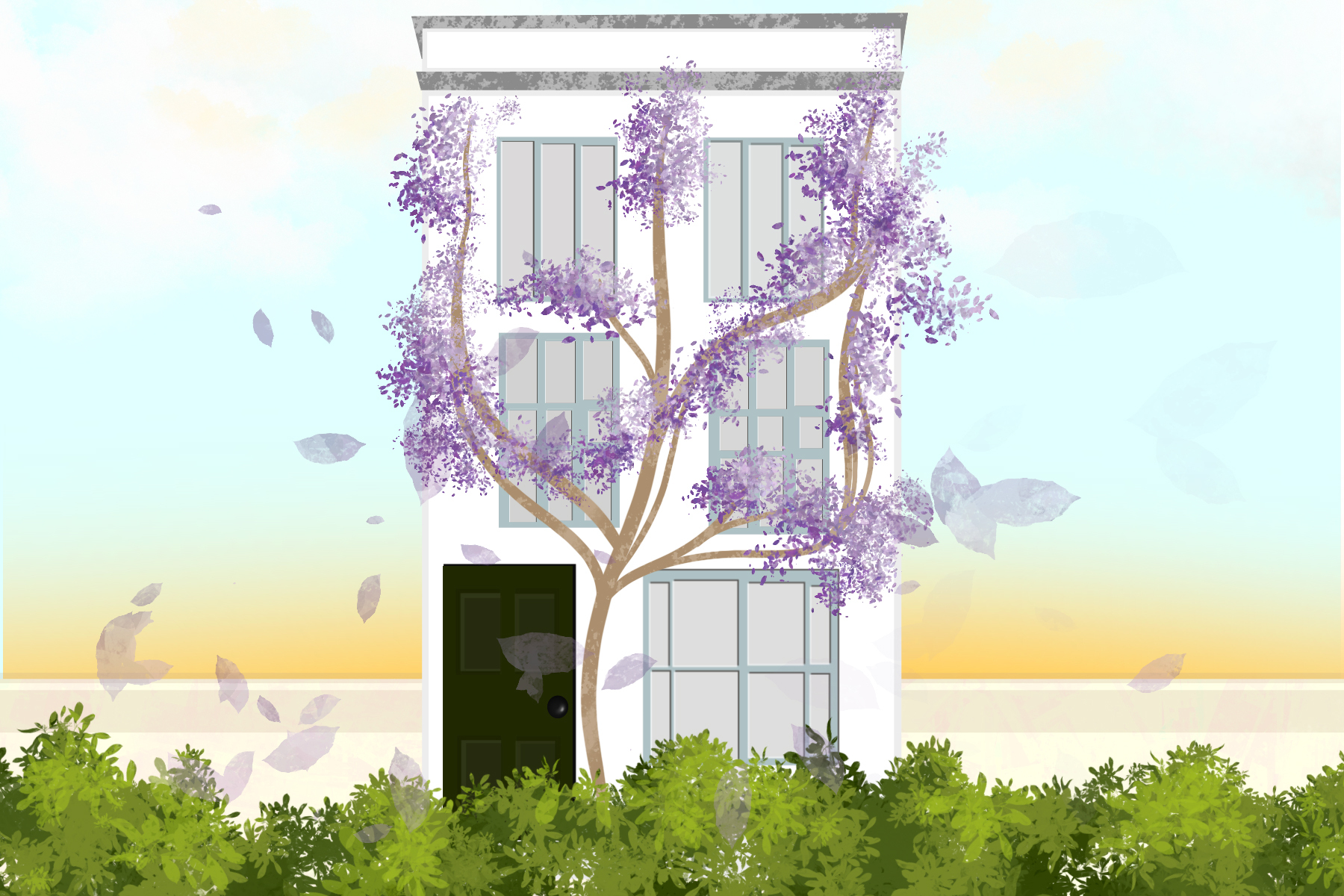 "Illustration of a house behind bushes and a tree, by Sezi Kaya in article about memoir ""In the Dream House"""