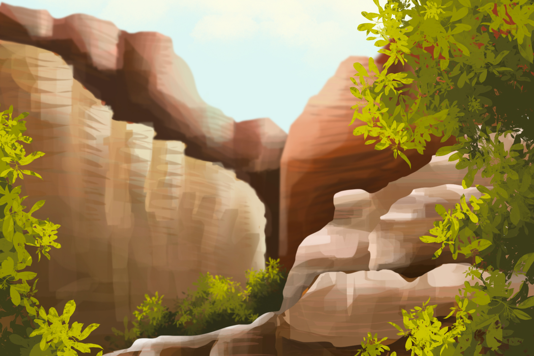 In an article about national parks, illustration by Sezi Kaya of a canyon