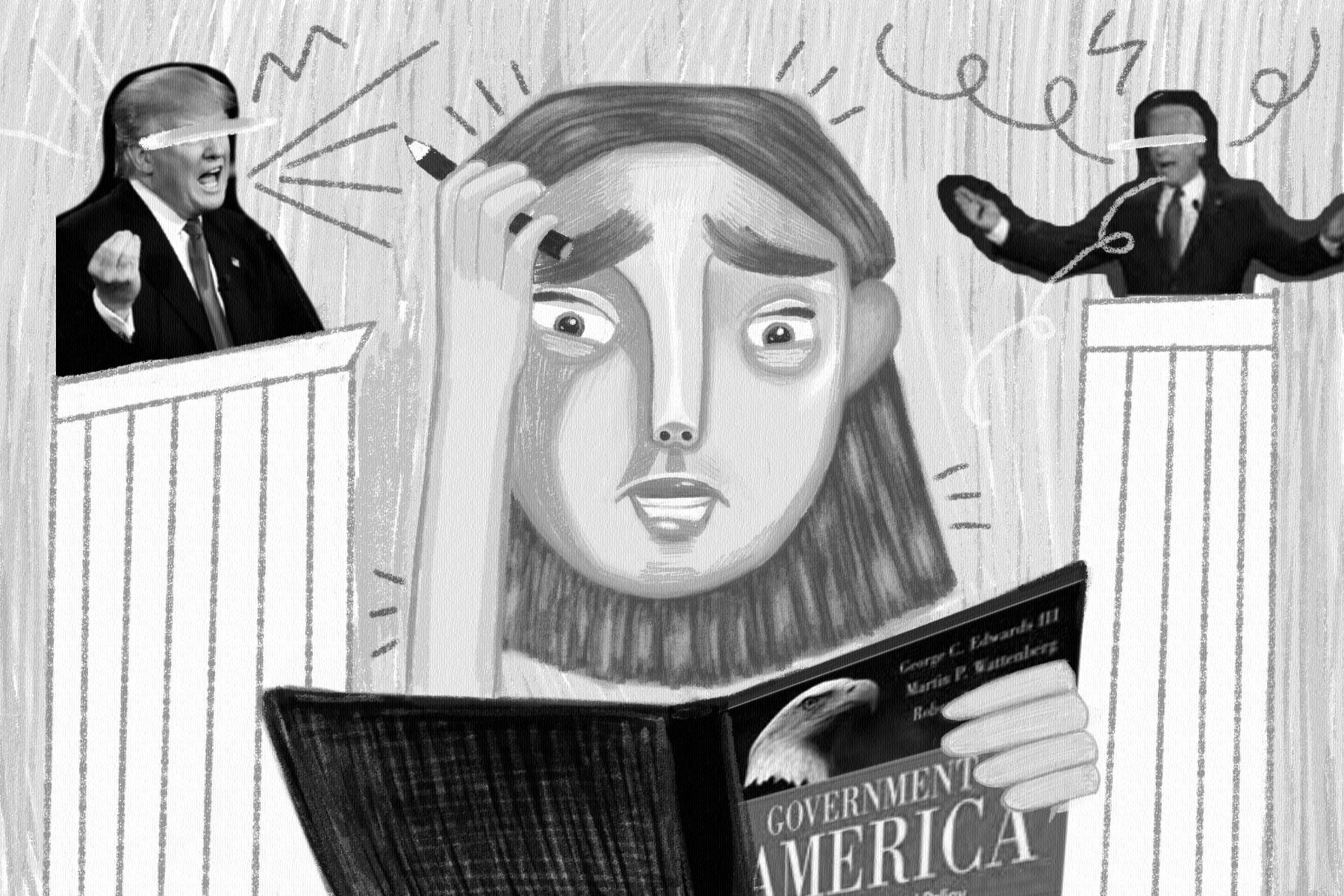 In an article about political language and the confusion it can cause, an illustration by Sid Estelle of a student looking confused at a history textbook as Joe Biden and Donald Trump debate behind them