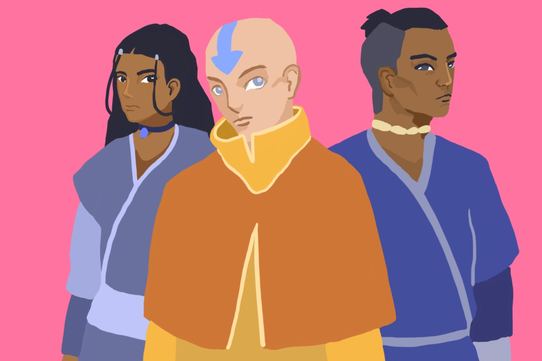 Aang, Katara and Sokka from the animated series Avatar: The Last Airbender.