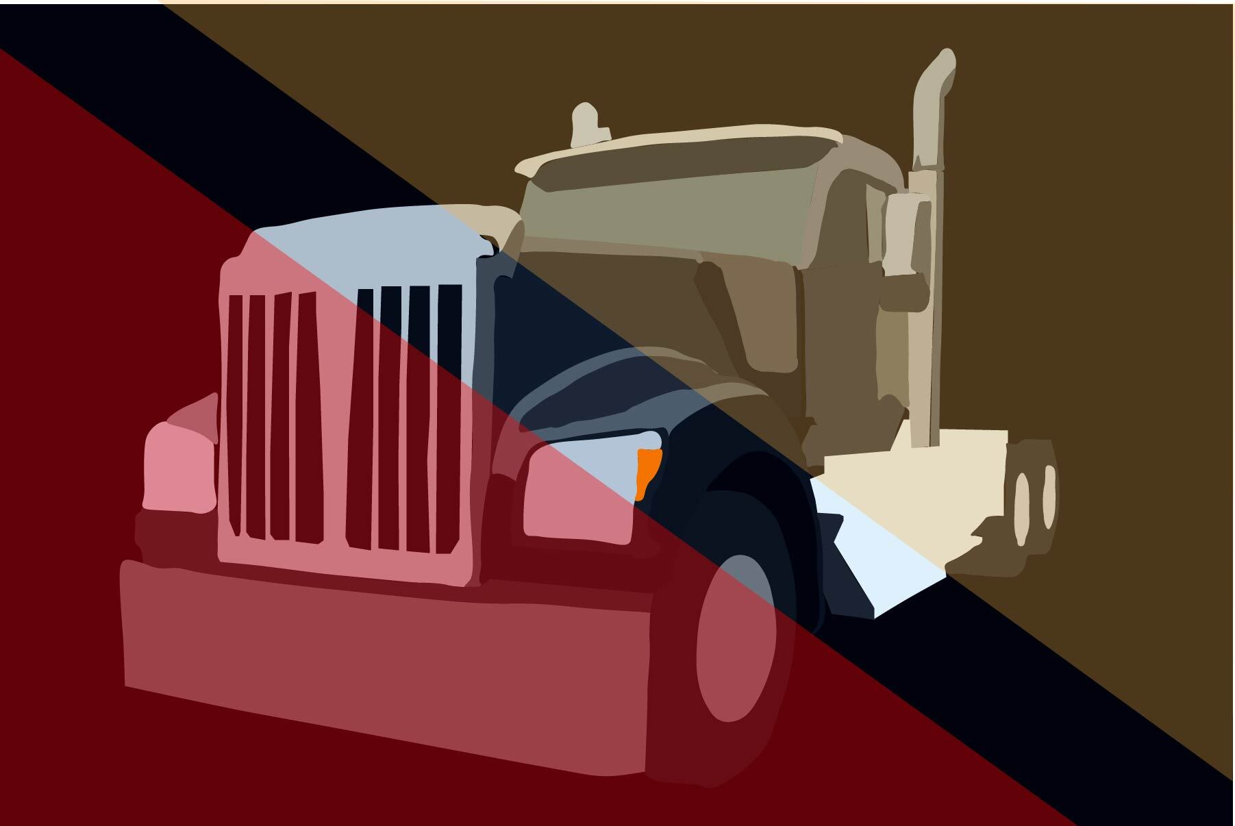 "Illustration by Ellen Budell of a truck as depicted in ""Carrier"""