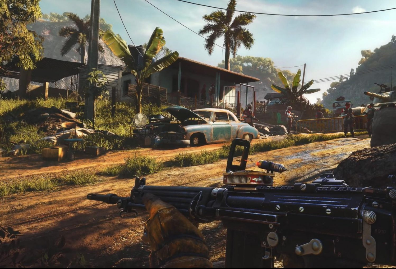 A screen shot from the lasted installment of the 'Far Cry' franchise showing a character holding a gun while running