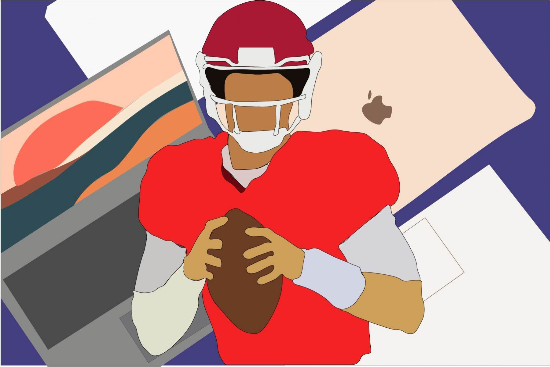 An illustration of a football player in front of a backdrop of Apple laptops representing all sports teams