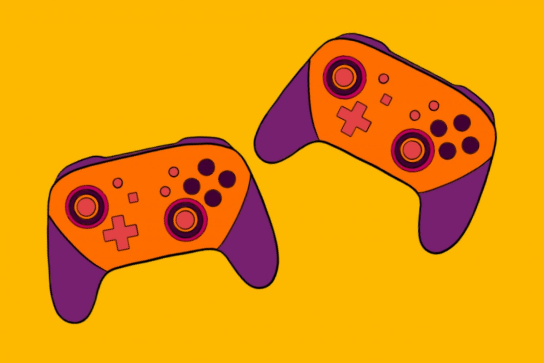 Two Xbox One controllers representing couch co-op multiplayer
