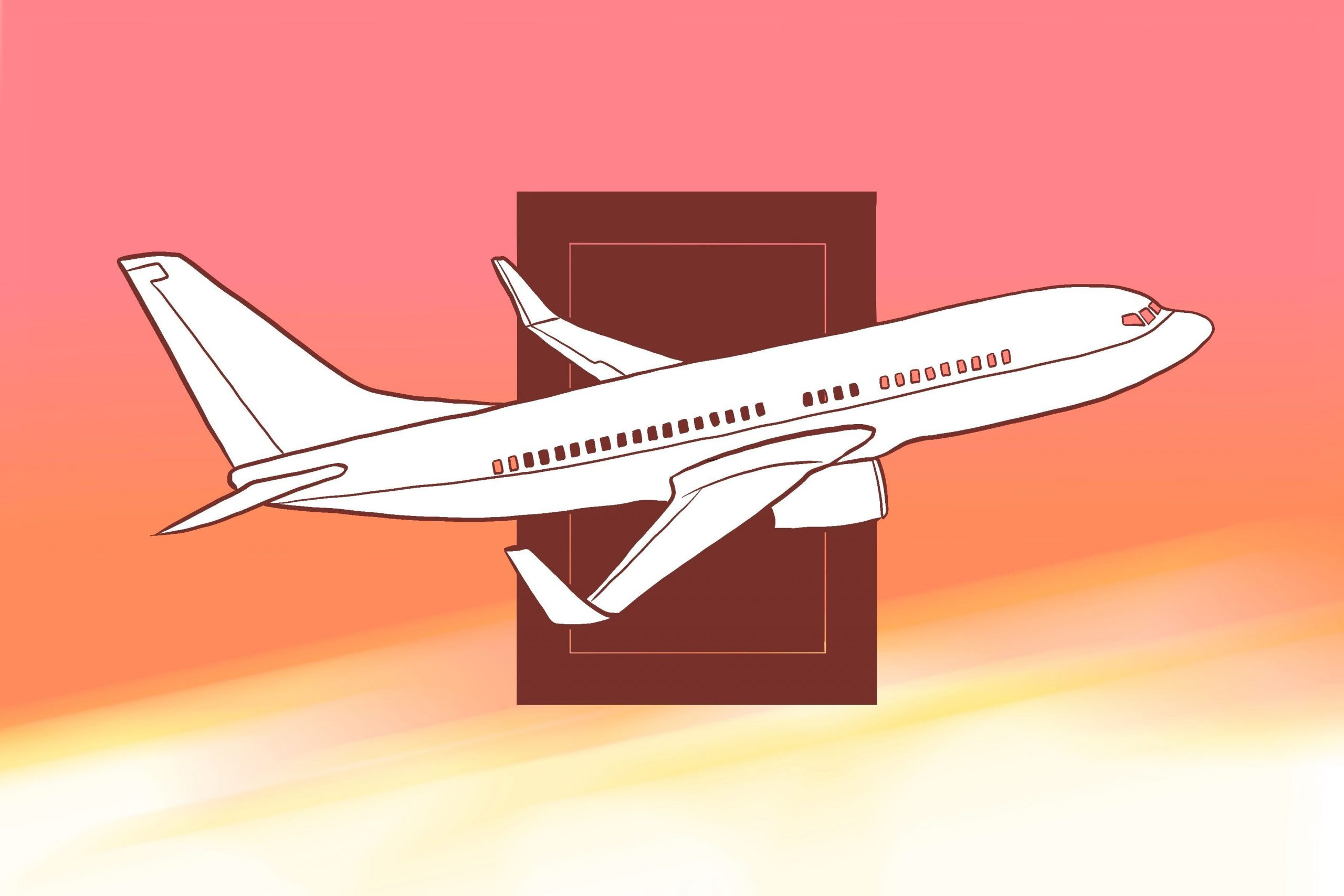 In an article about flight options, an illustration by June Le