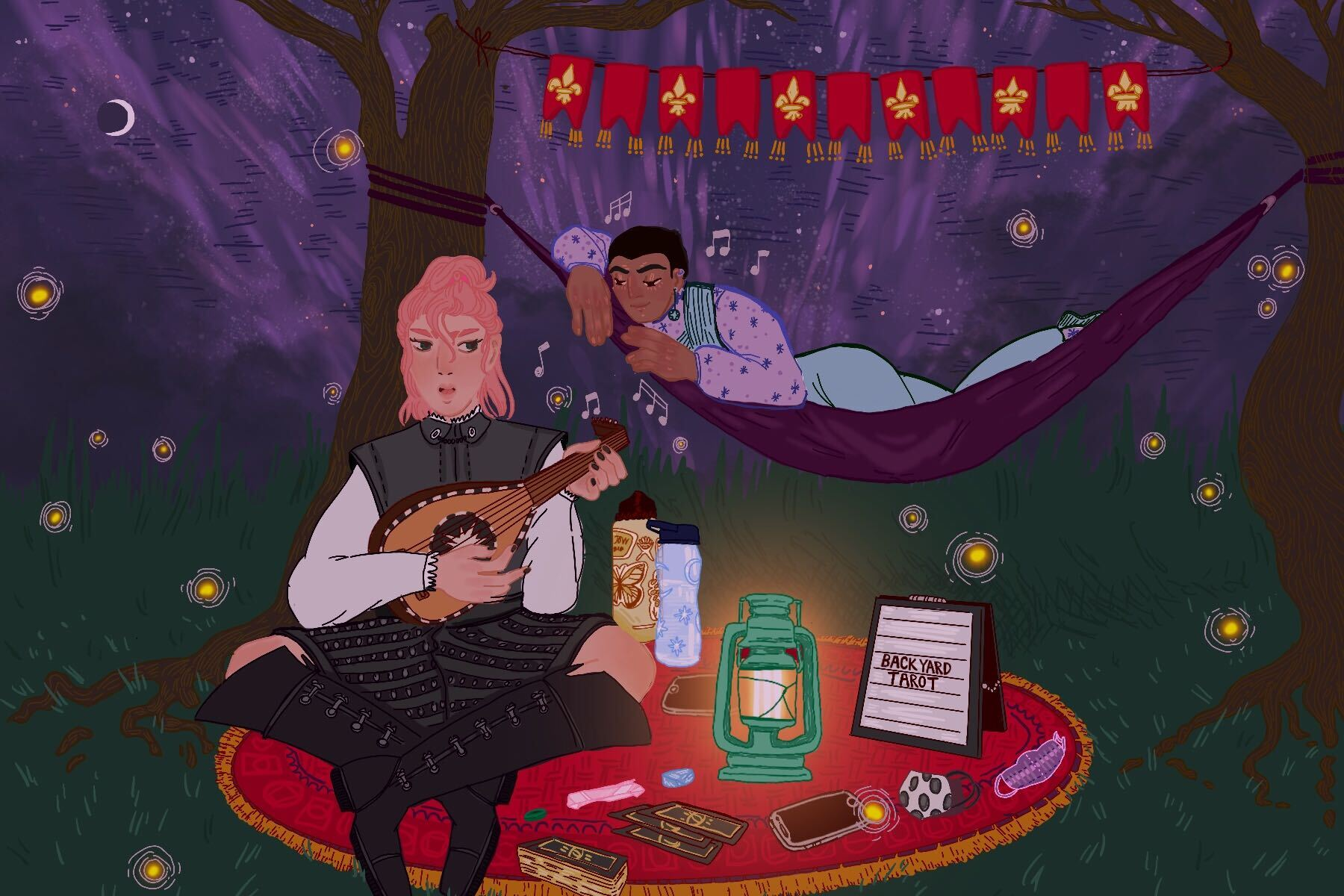 Illustration of two people at a campsite, one sitting on a blanket playing a mandolin, the other behind them in a hammock, in an article about friends flaking on plans.