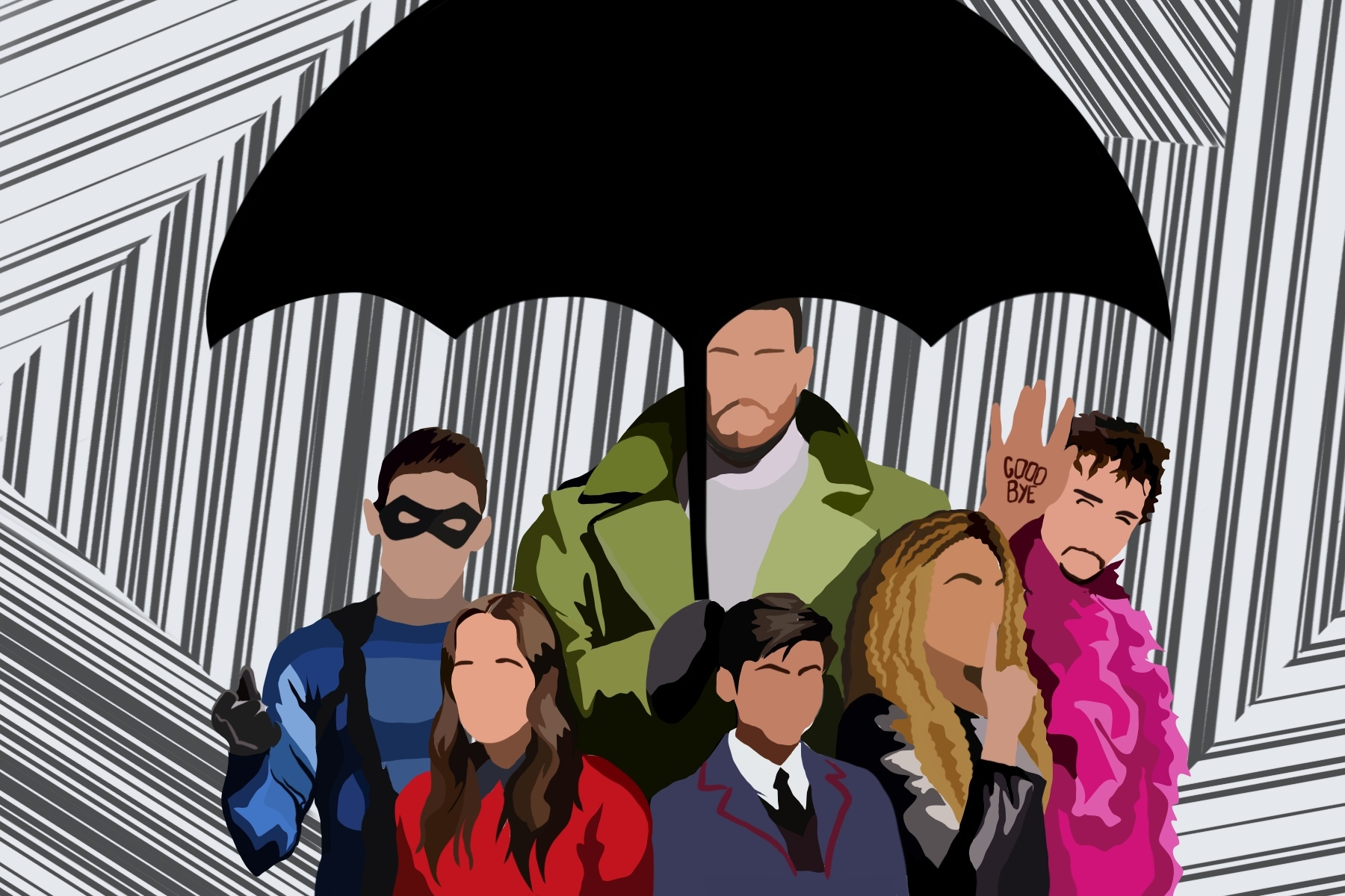Characters from 'The Umbrella Academy.'