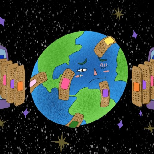 Illustration by Amy Young of an Earth with band-aids on it