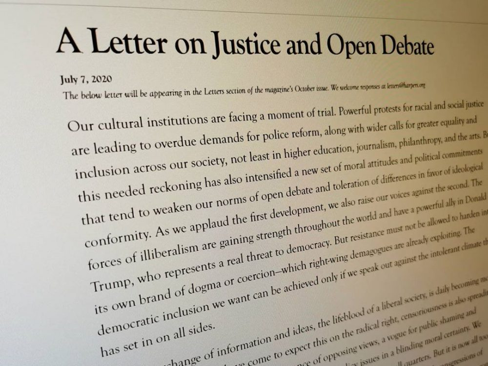 Harper's Magazine letter on cancel culture