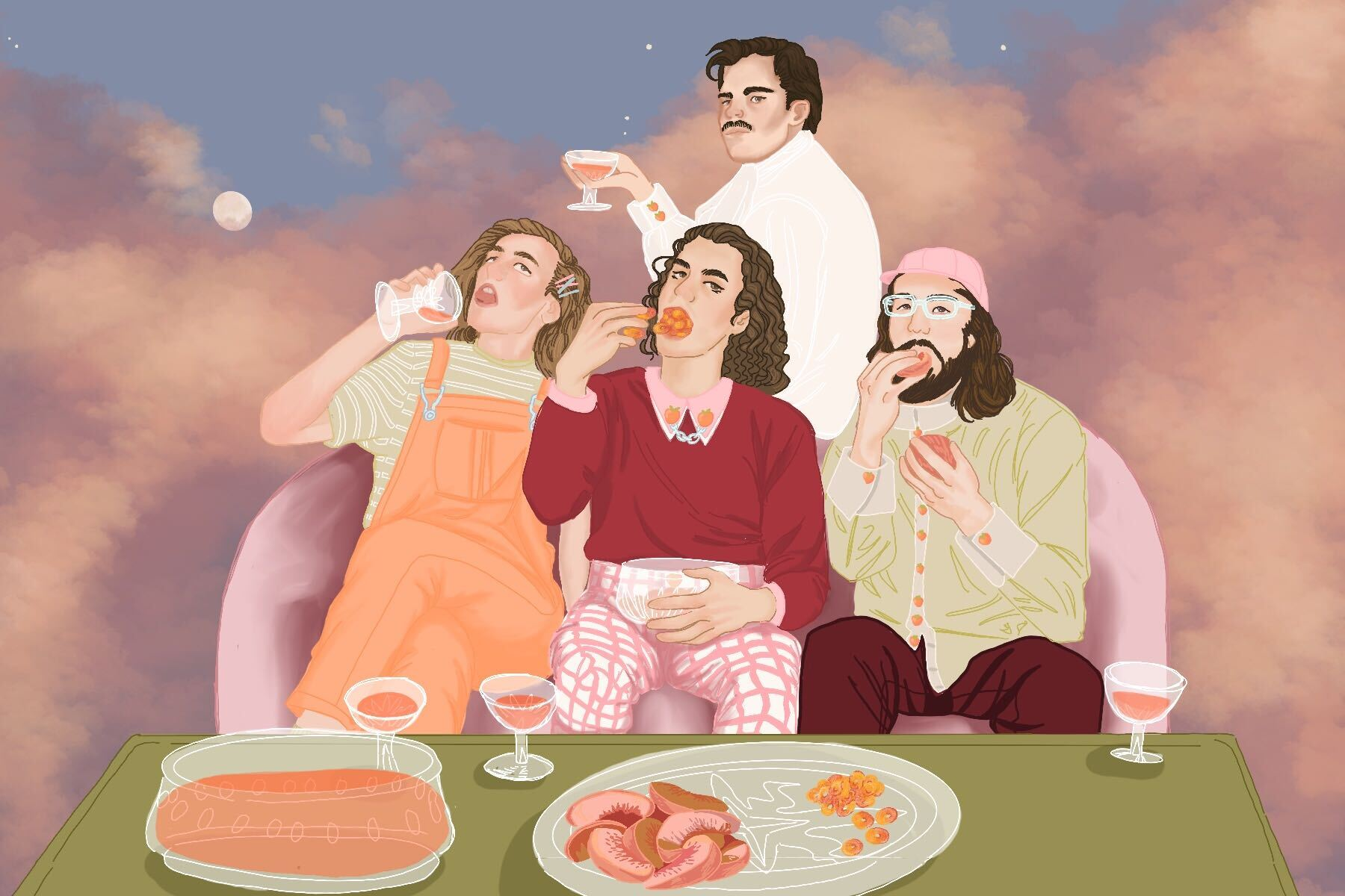 An illustration of the members of Peach Pit