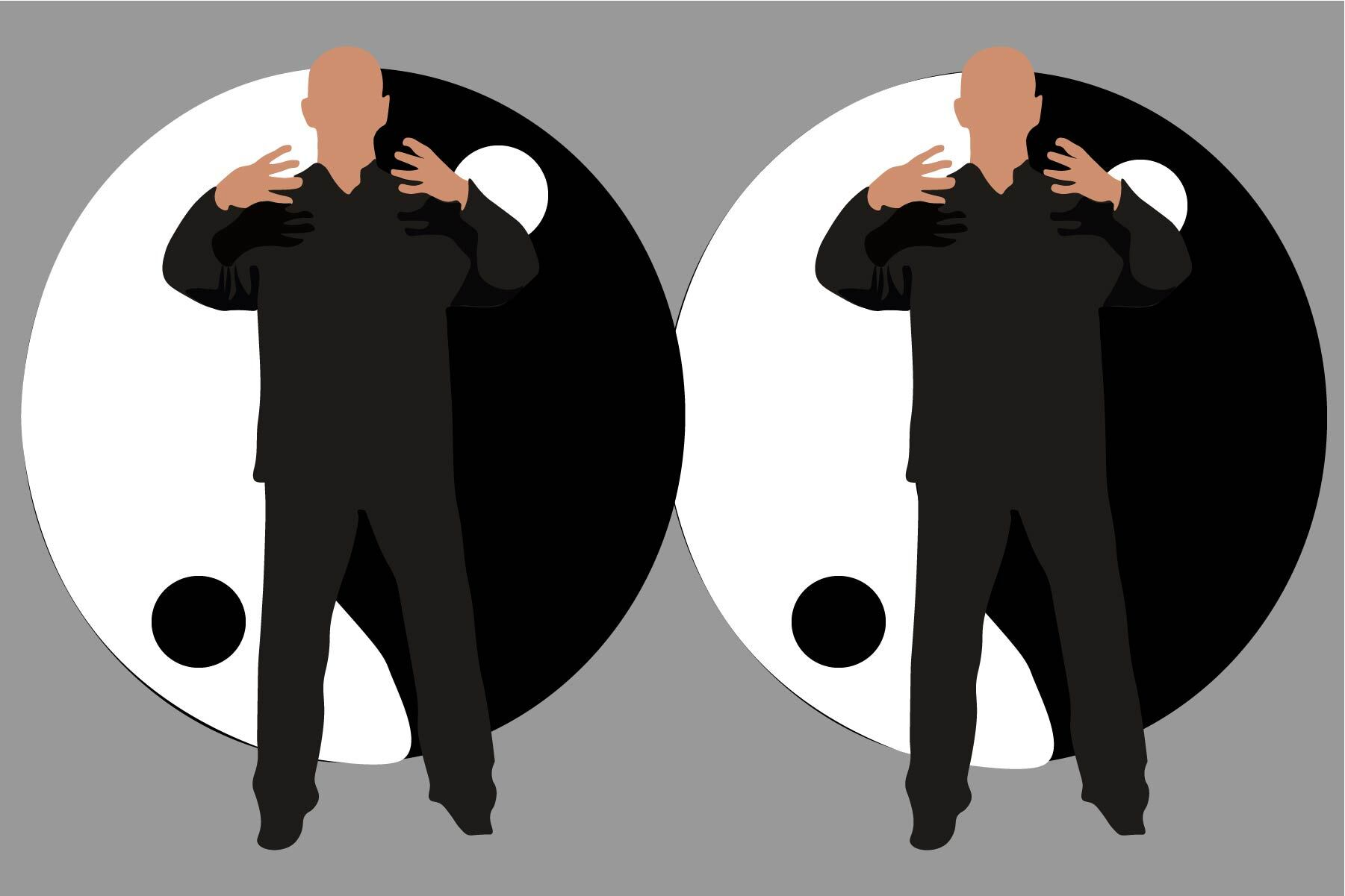 Illustration of two mean practicing standing meditation practice, Qi Gong
