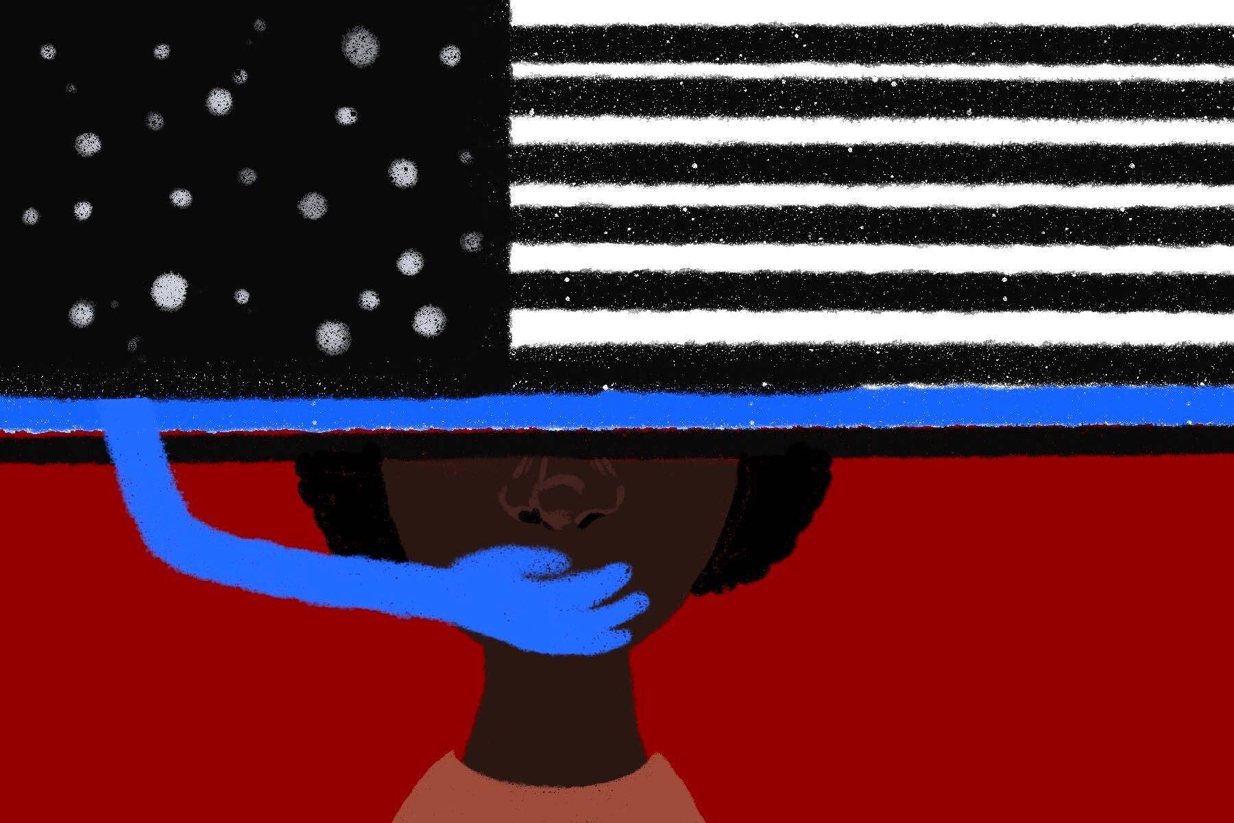 An illustration of the thin blue line flag covering someone's mouth