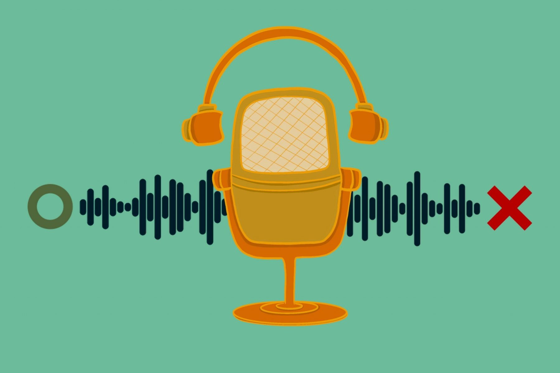 An illustration of a microphone for a podcast