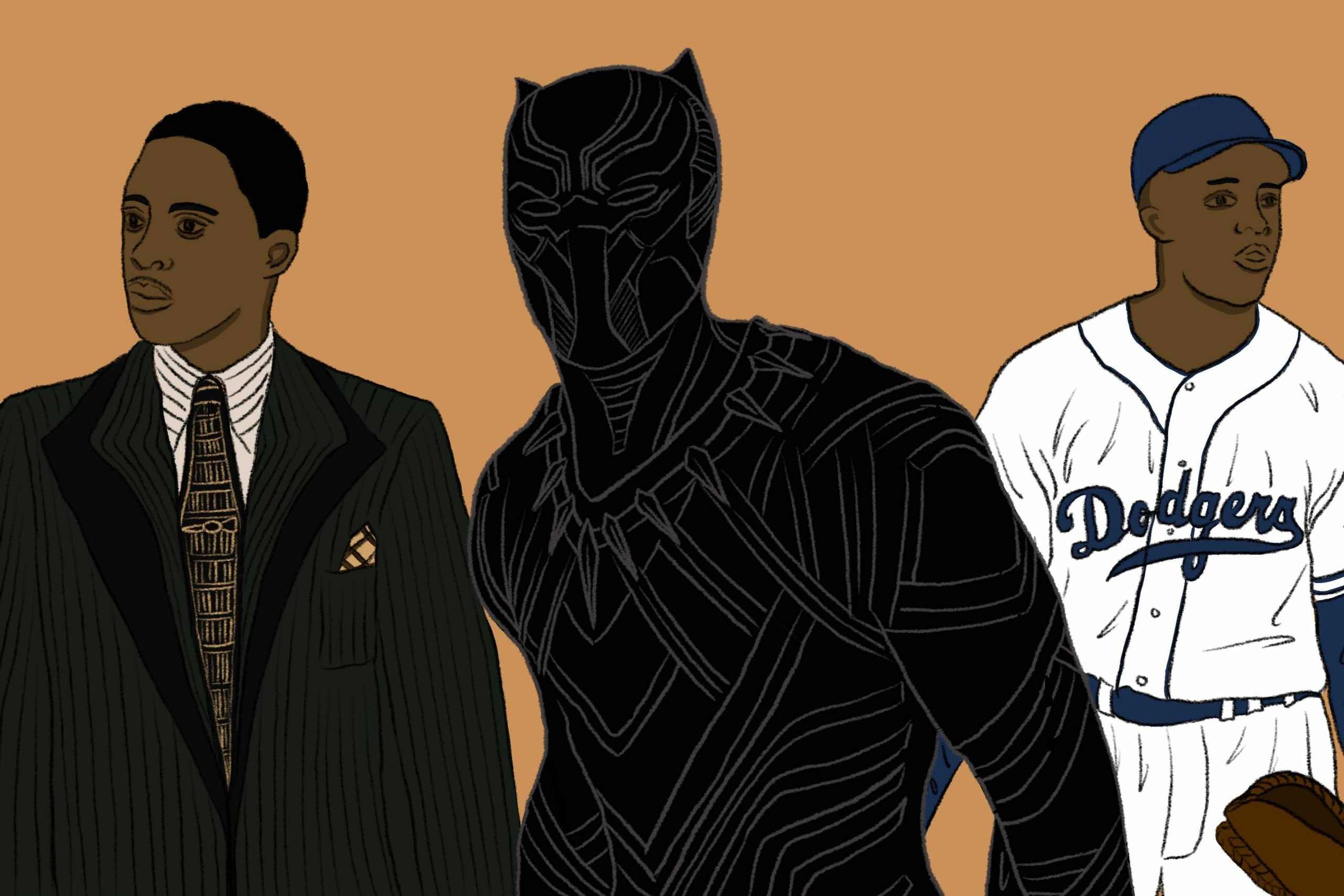 Illustration by June Le for an article on Chadwick Boseman, featuring drawings on Black Panther, Jackie Robinson and Thurgood Marshall