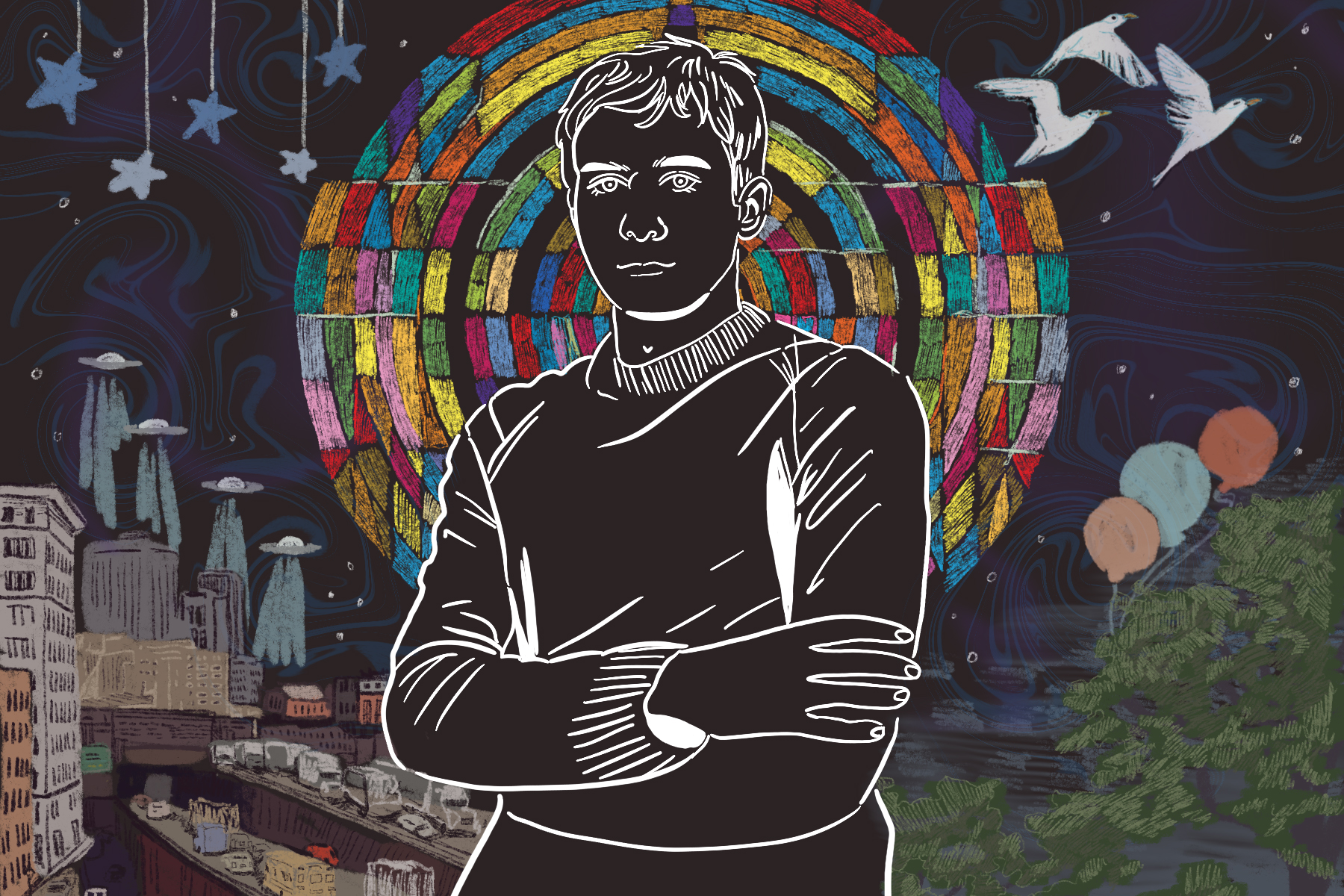 Illustration by Baz Pugmire of Sufjan Stevens
