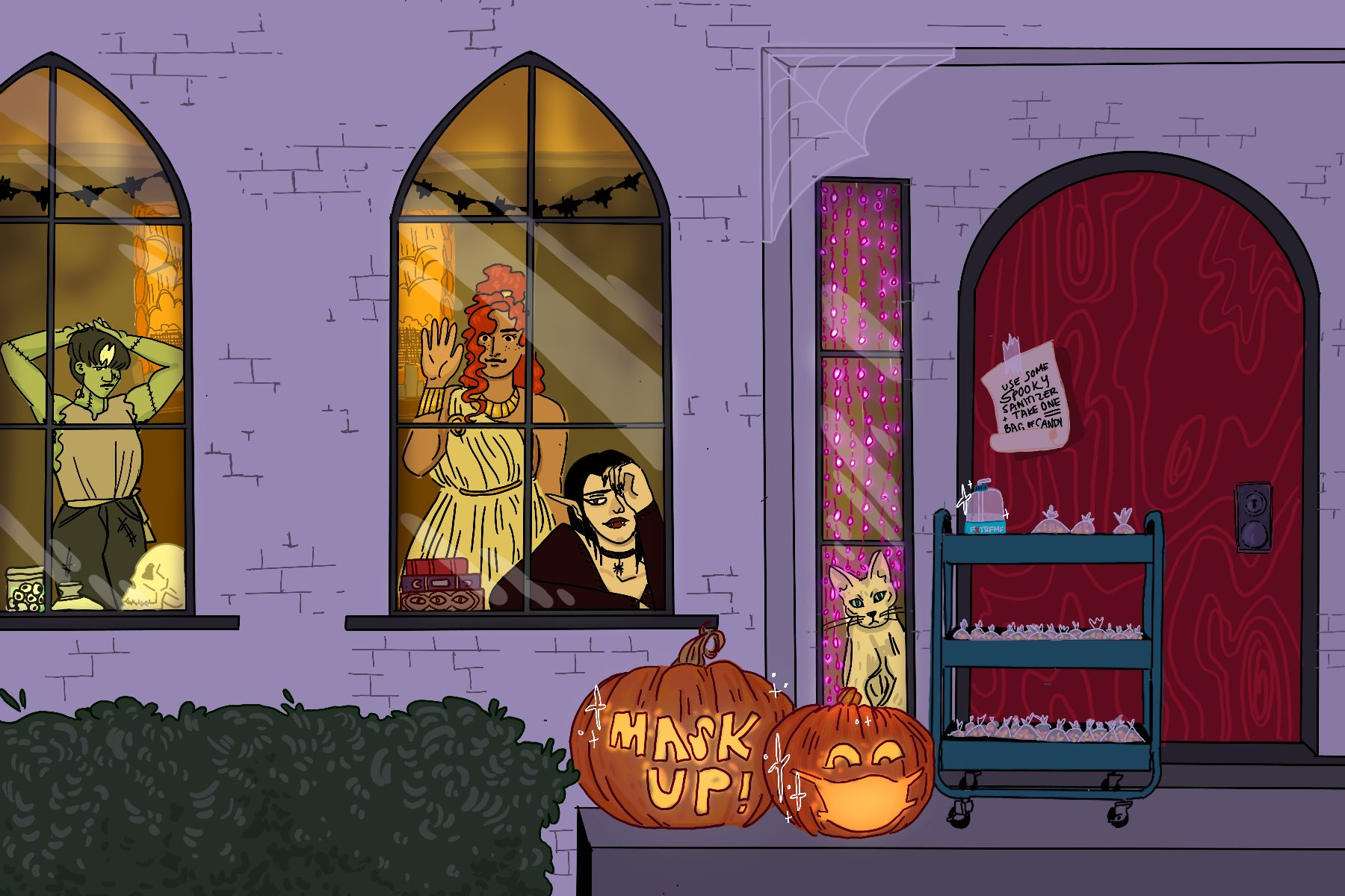 Illustration of house on Halloween by Baz Pugmire