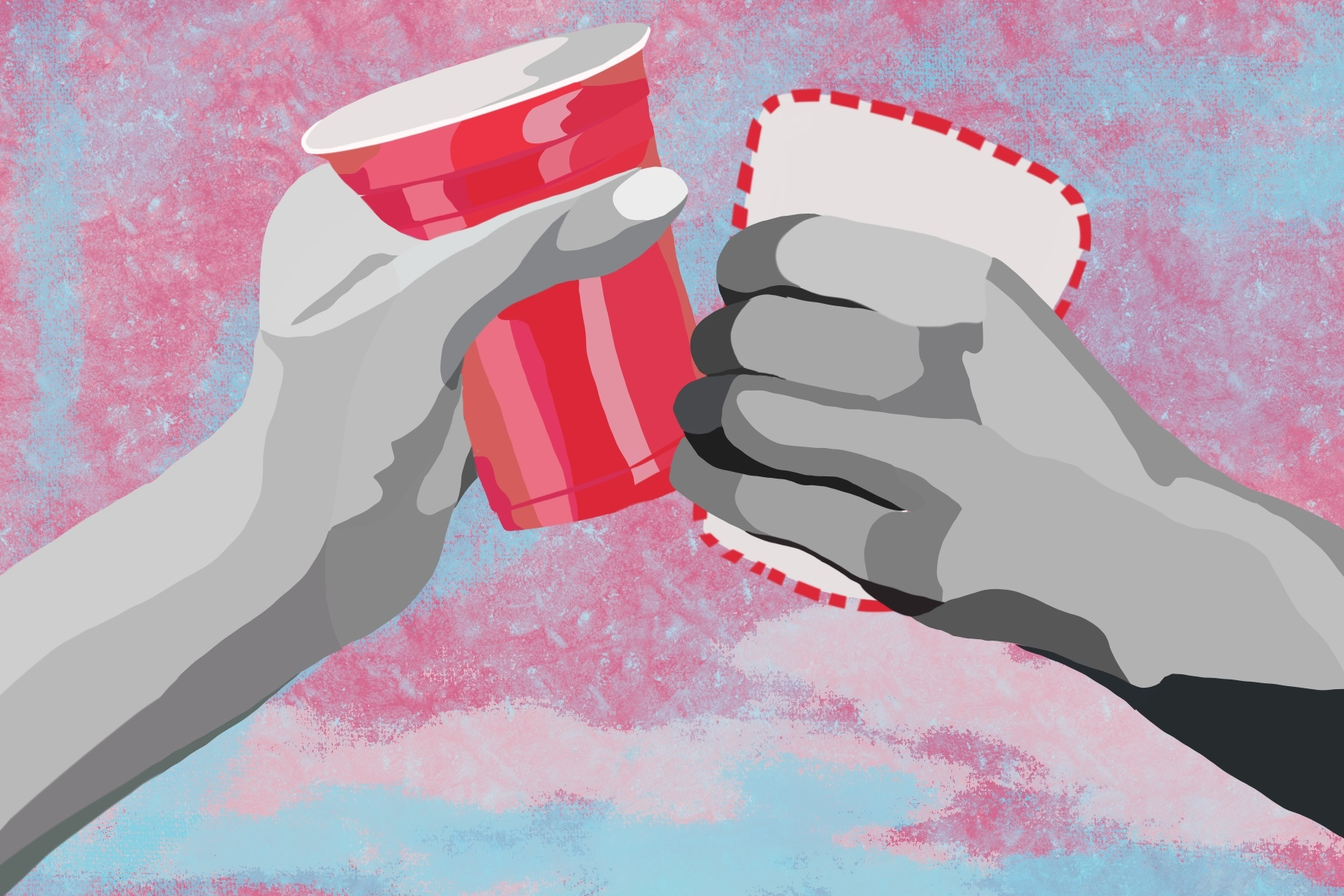 Two hands toasting with cups, the alcohol drinker holding a Solo cup and the sober drinker holding the blank outline of a Solo cup.