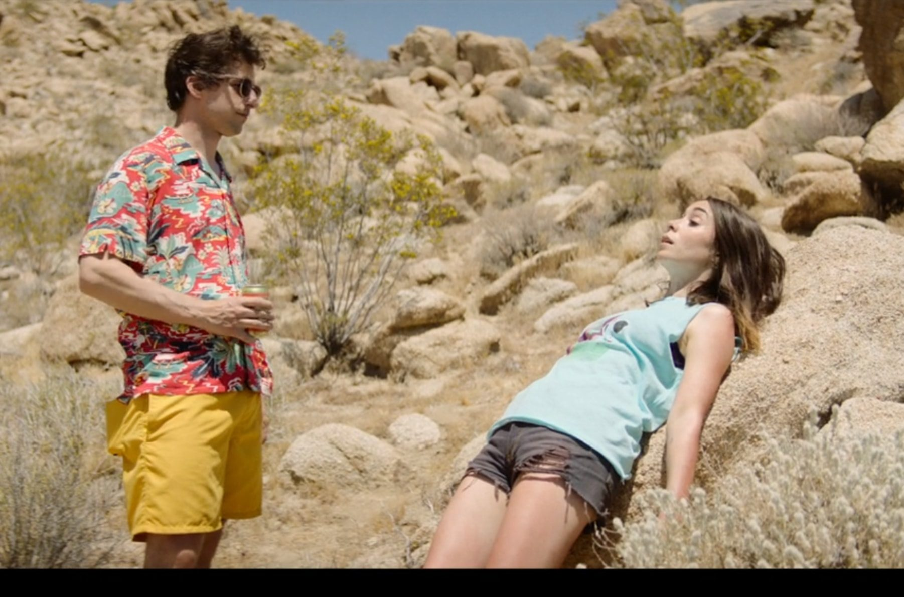 Screencap of the film Palm Springs, which features a time loop