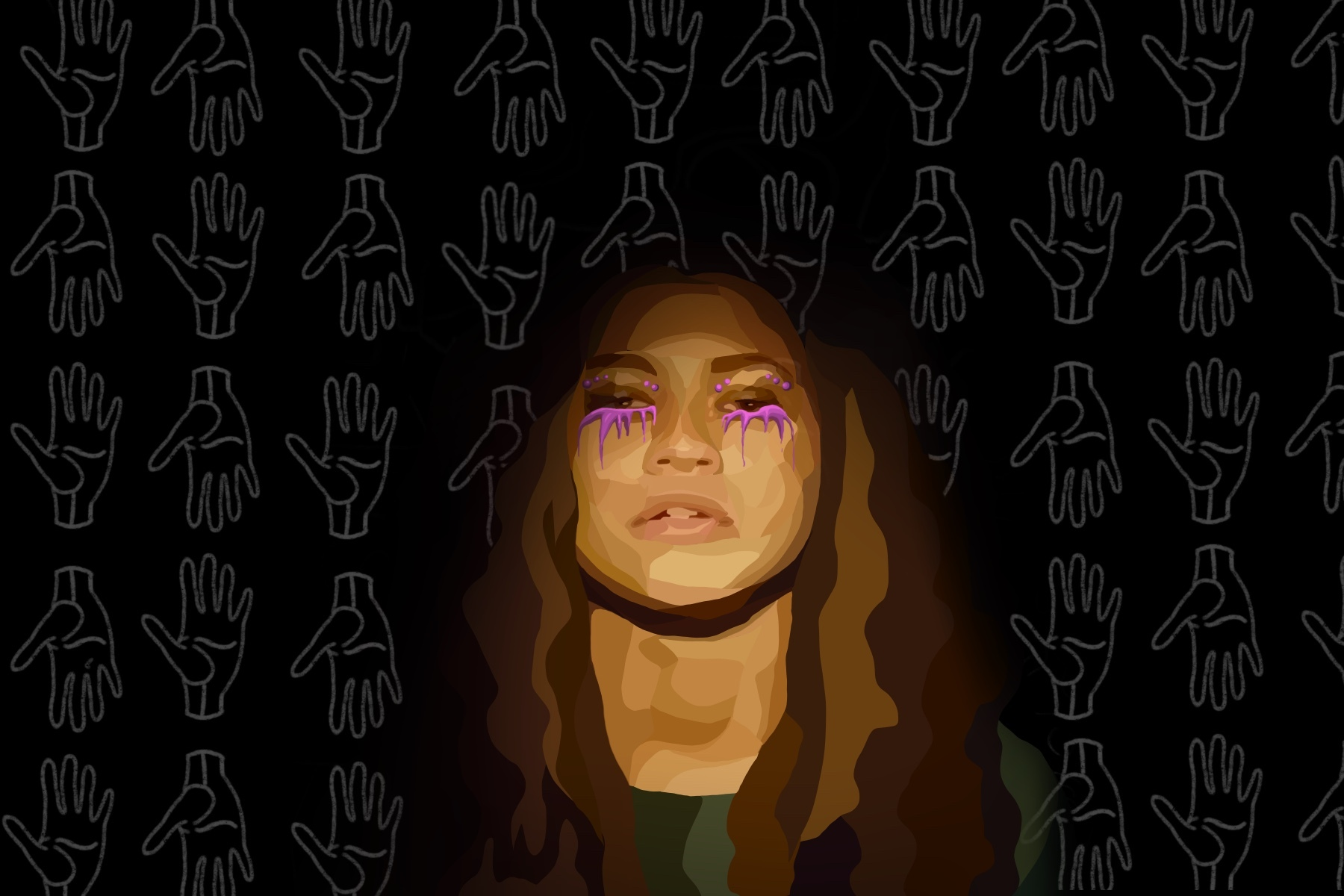 Zendaya from Euphoria in purple makeup against a black background
