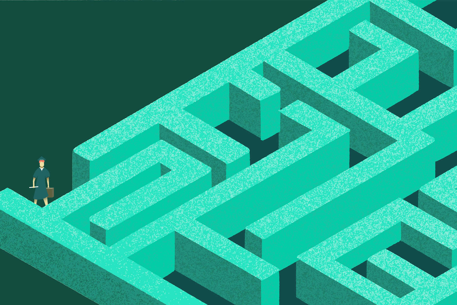 An illustration of a maze for an article about finding a job after college.