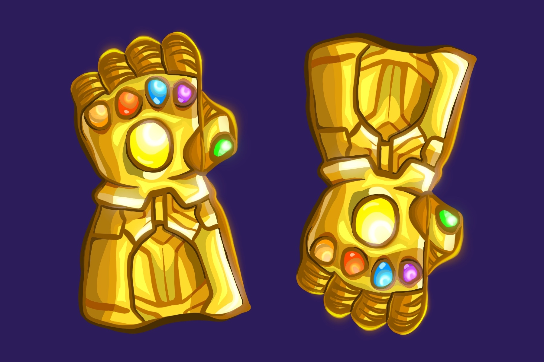 Thanos' glove from Infinity War, illustrated by Shelly Freund