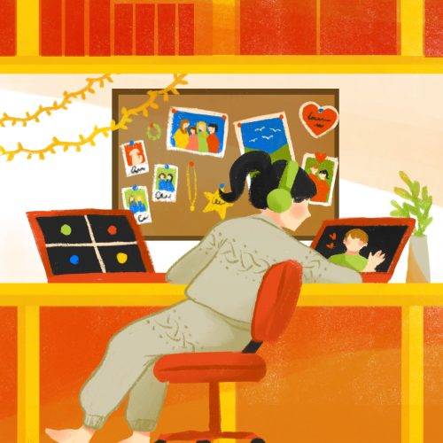 Illustration by Eri Iguchi of a person working at their desk