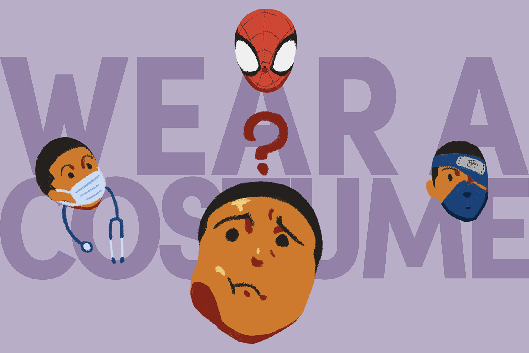 An illustration of someone thinking of wearing a costume with a mask for Halloween.