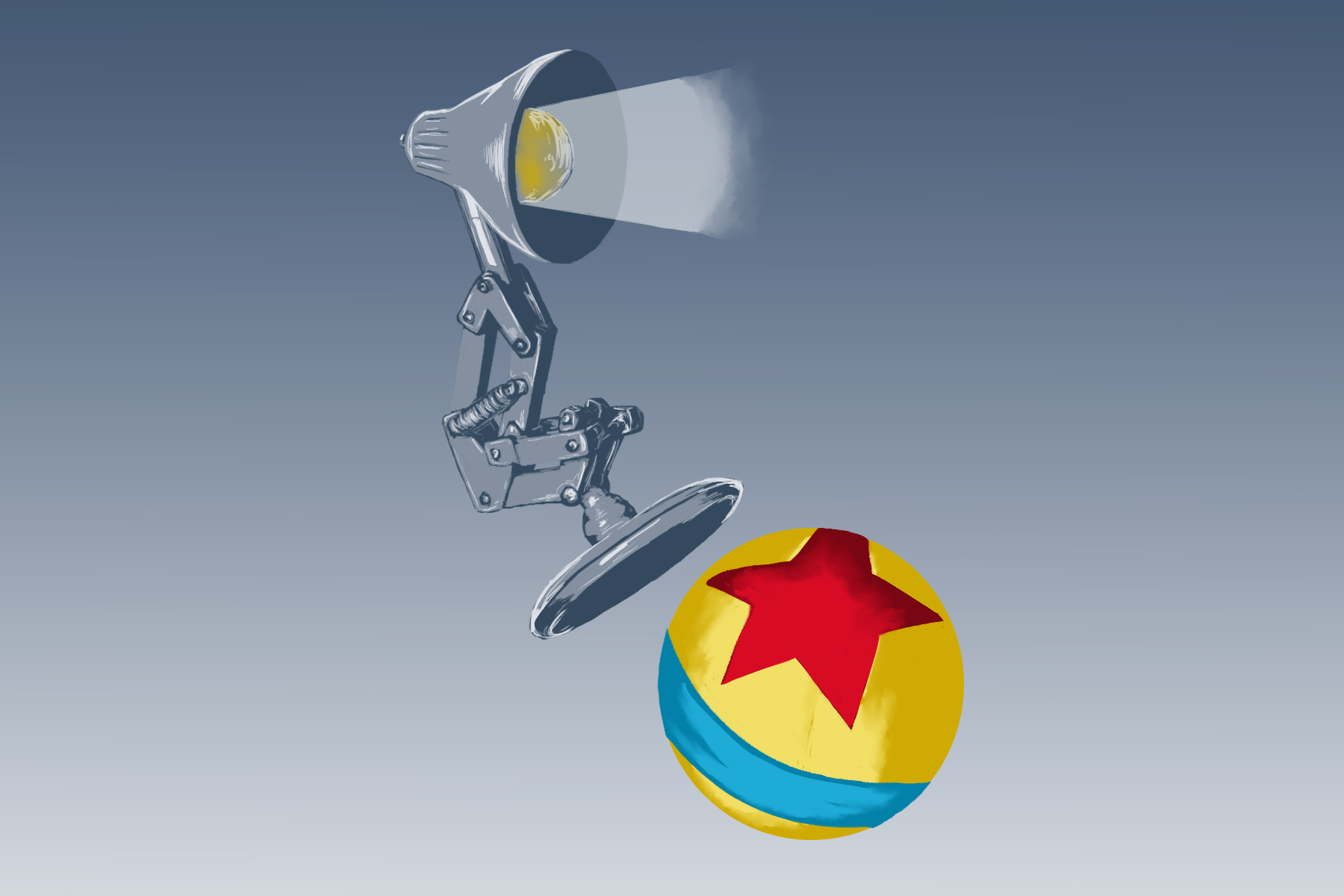"An illustration of the Pixar lamp and ball for an article about ""Toy Story"""