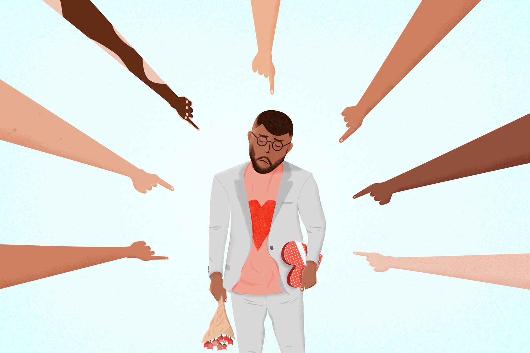 An image for an article about simp culture. Illustrated by Adam Lee.