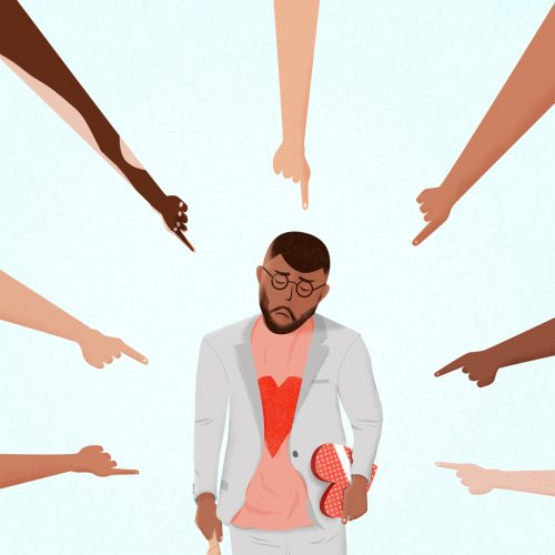 Illustration by Adam Lee of fingers pointing at person with a box of chocolates