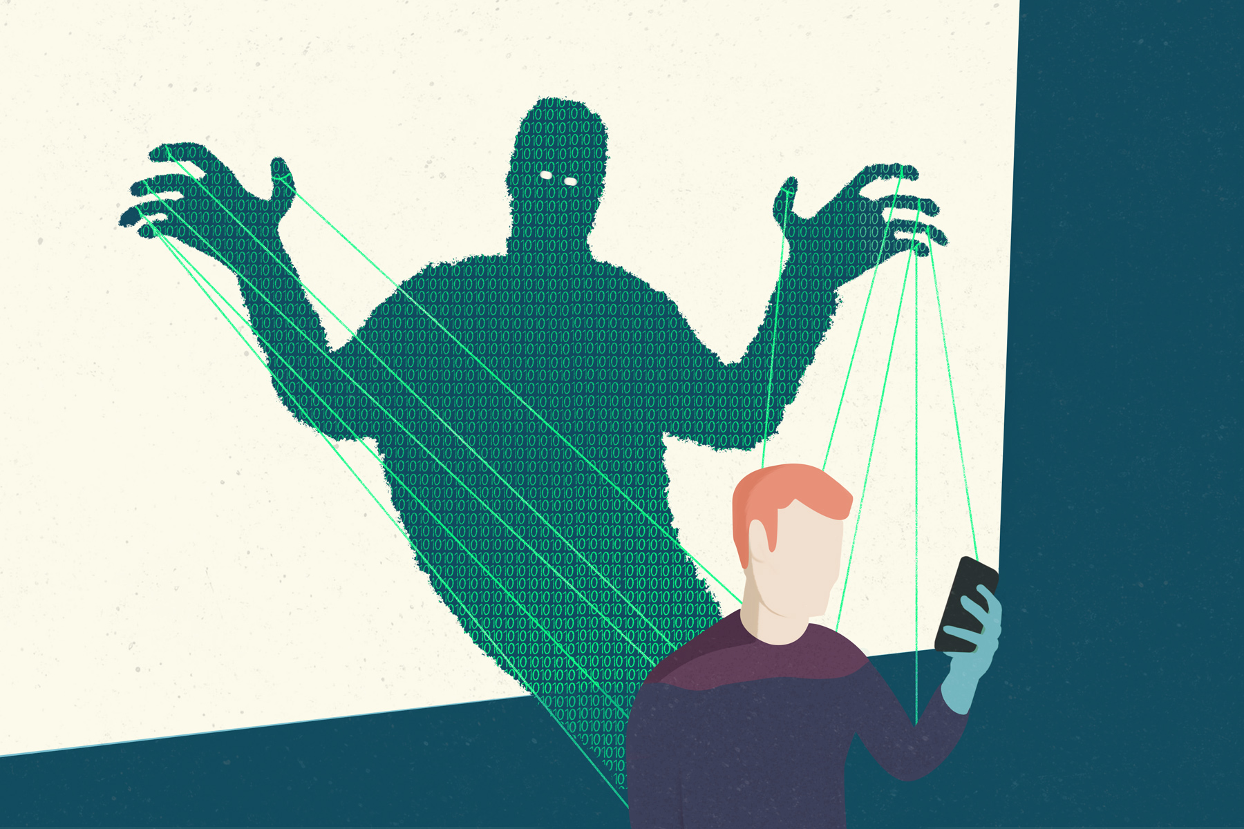 In an article about Netflix's 'The Social Dilemma,' an illustration showing a person on their phone. Illustration by Adam Lee.