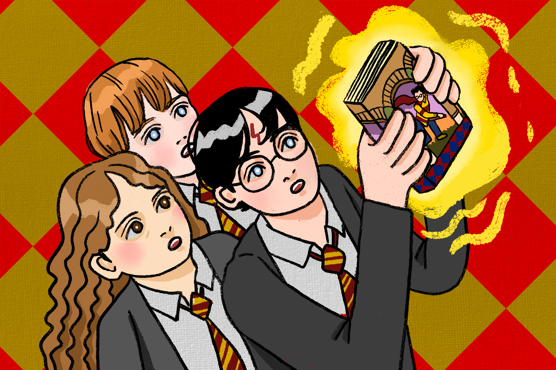 Illustration by Marlowe Pody for an article on Harry Potter
