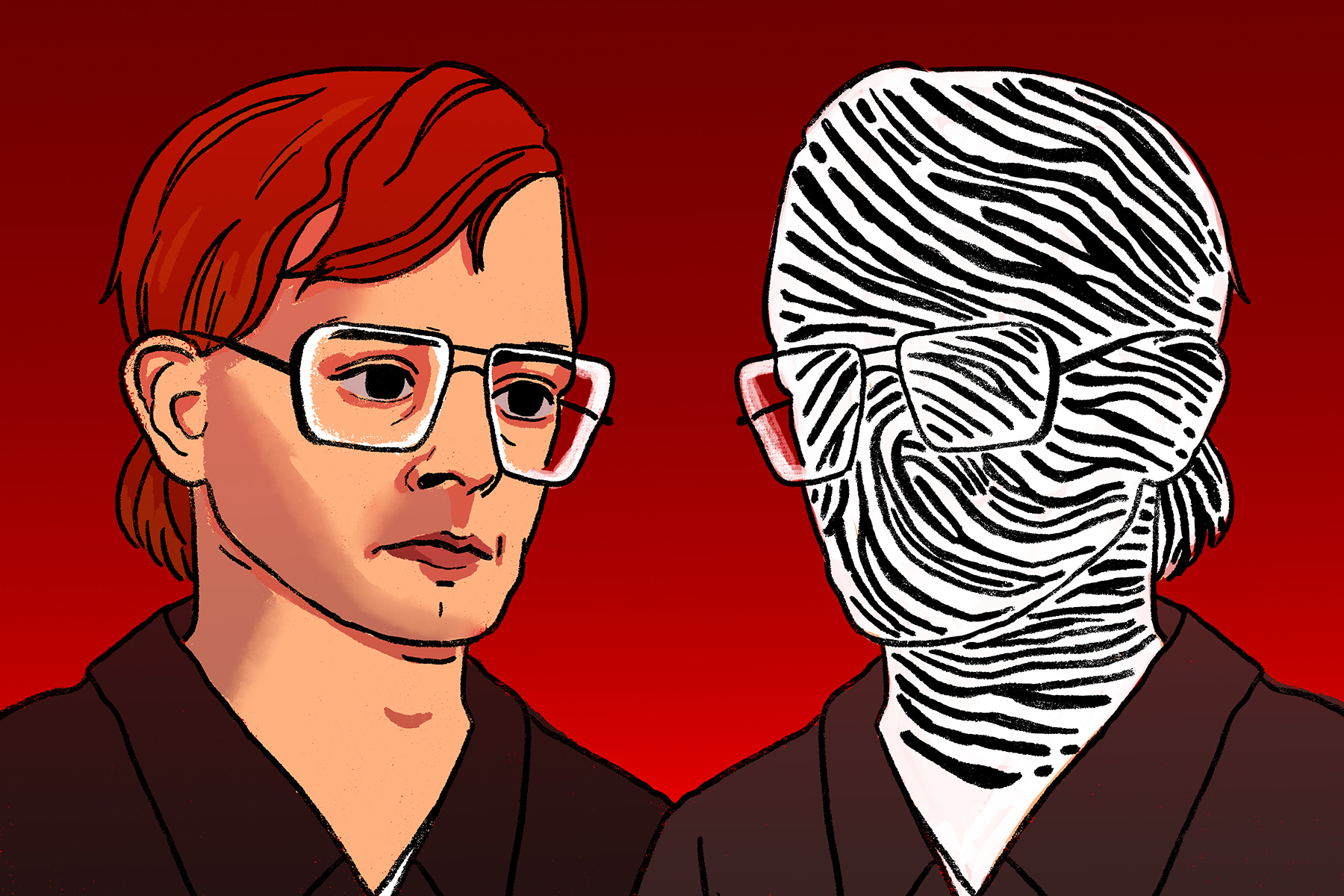 Illustration by Marlowe Pody for an article on Jeffrey Dahmer