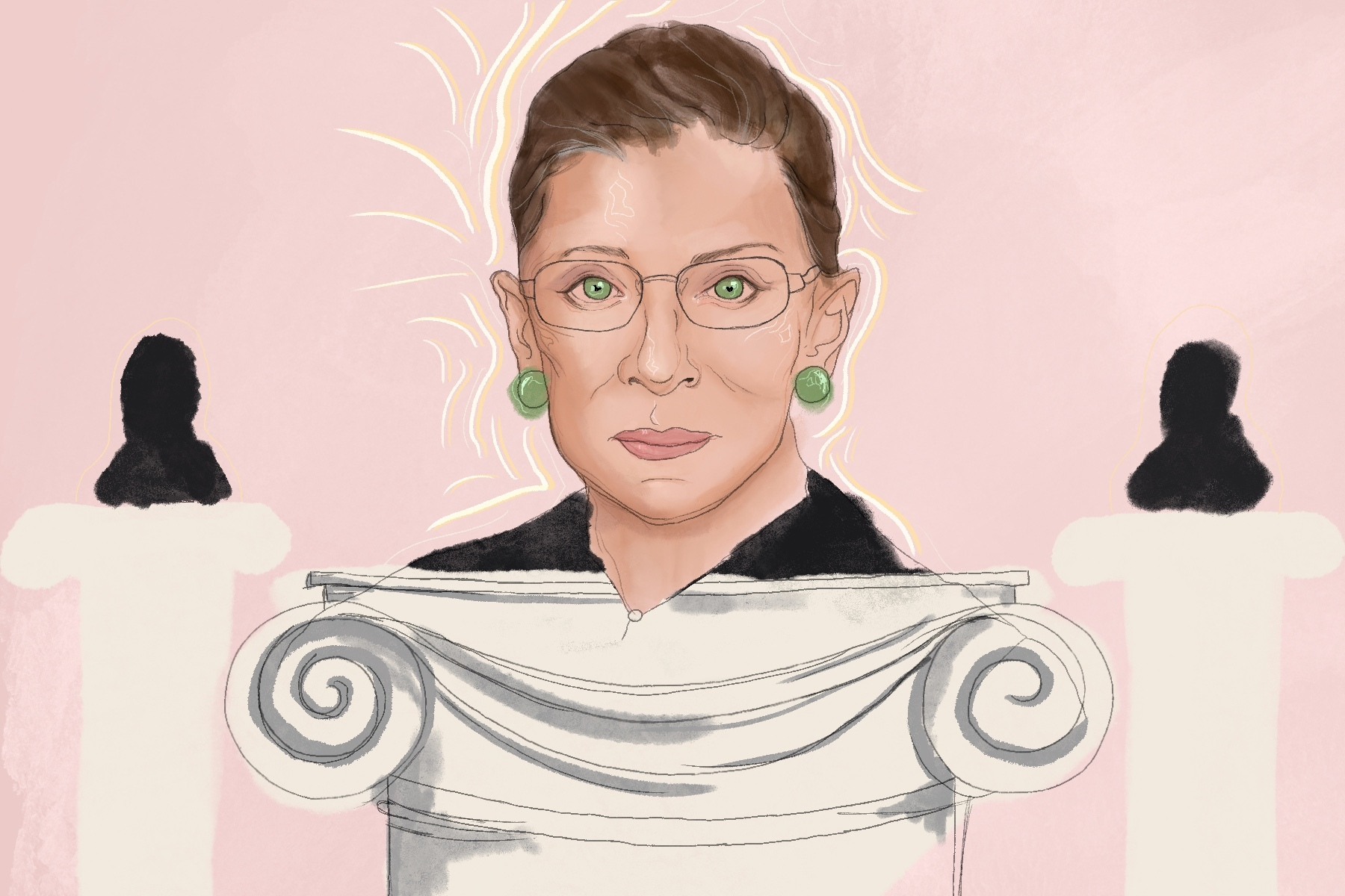 Illustration by Emmalia Godshall for an article on Ruth Bader Ginsburg