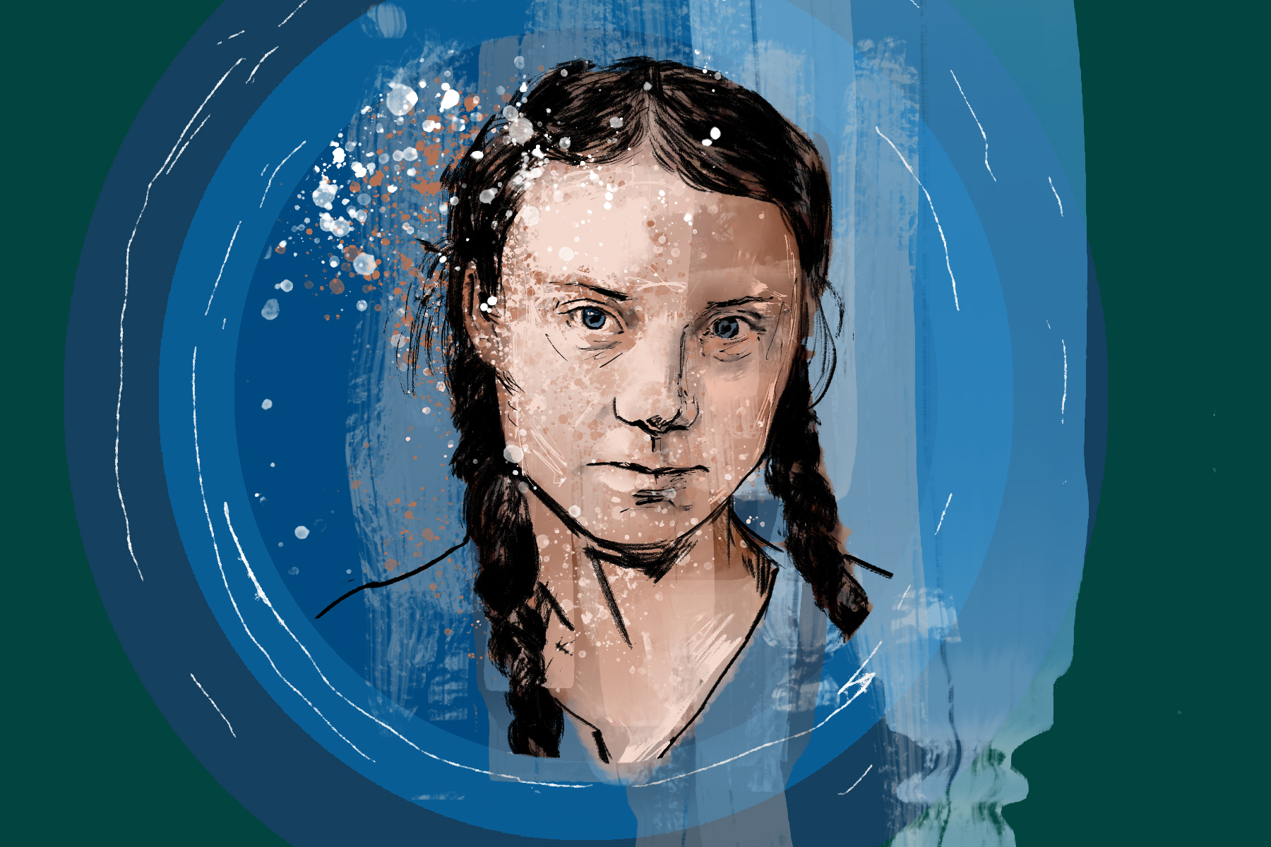Illustration of Greta Thunberg by Marcus Escobar for an article on I Am Greta