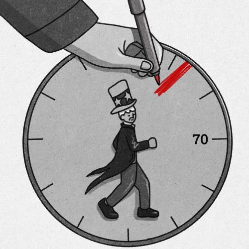 Illustration by Xingzhou Cheng of Uncle Sam on a clock