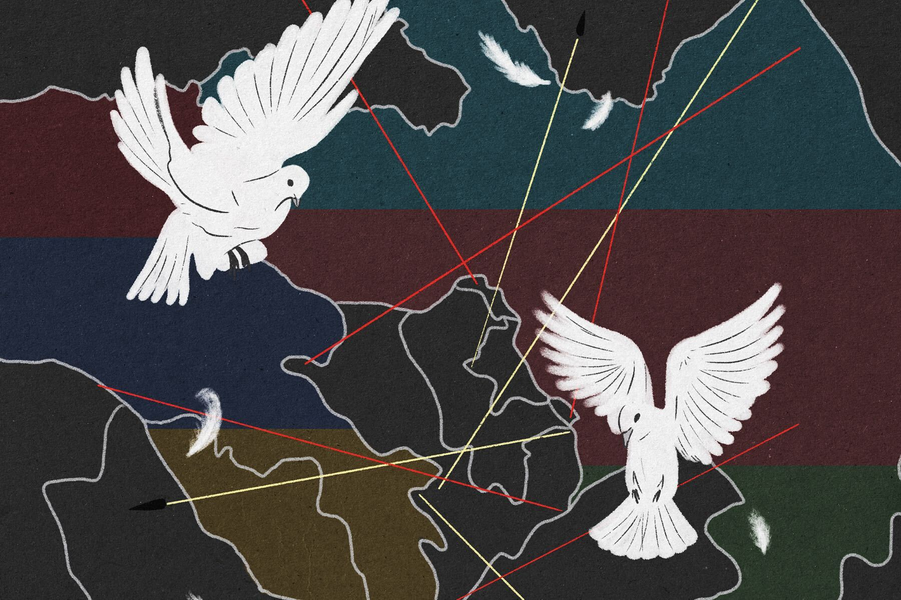 Illustration by Xingzhou Cheng for an article on the Nagorno-Karabakh Conflict