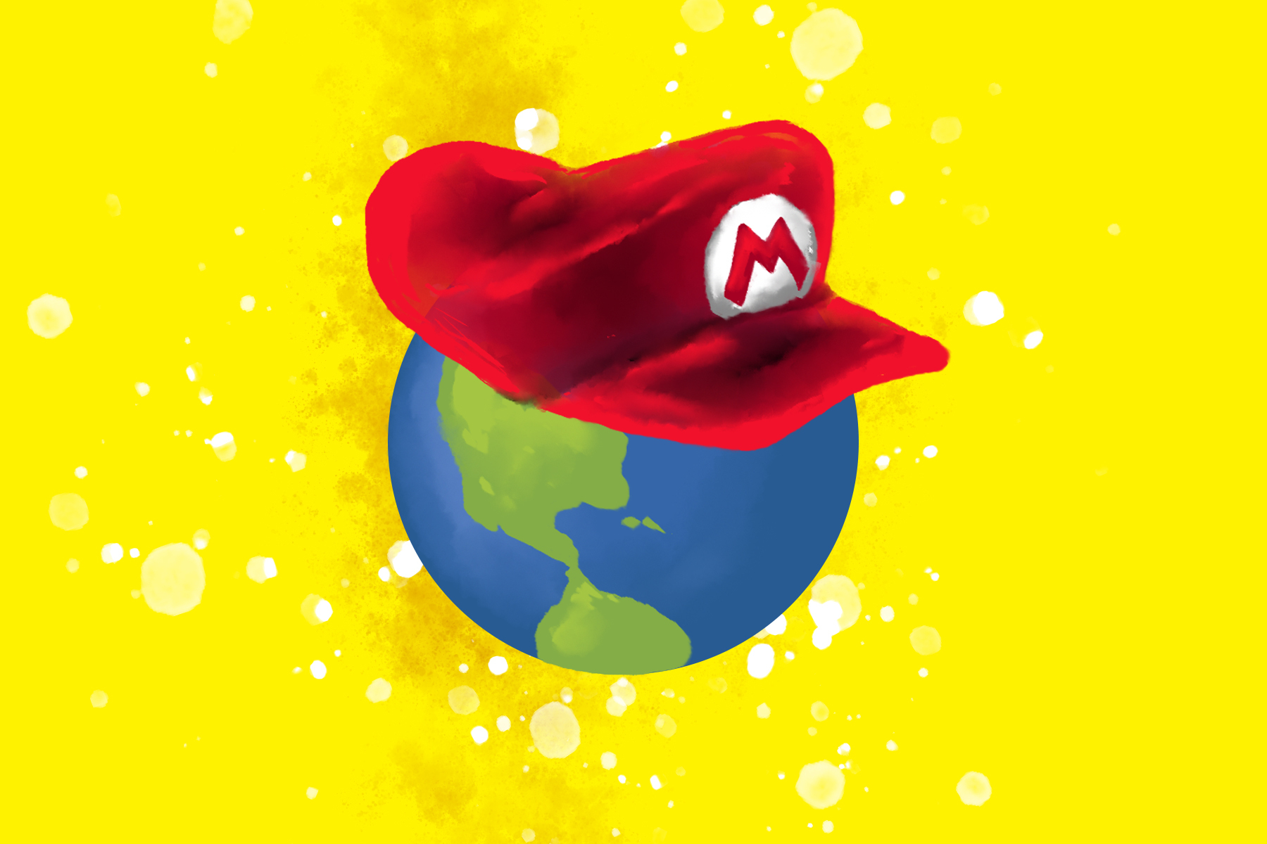 """An illustration of a world with Mario's hat on it for an article on """"Super Mario Odyssey."""""""