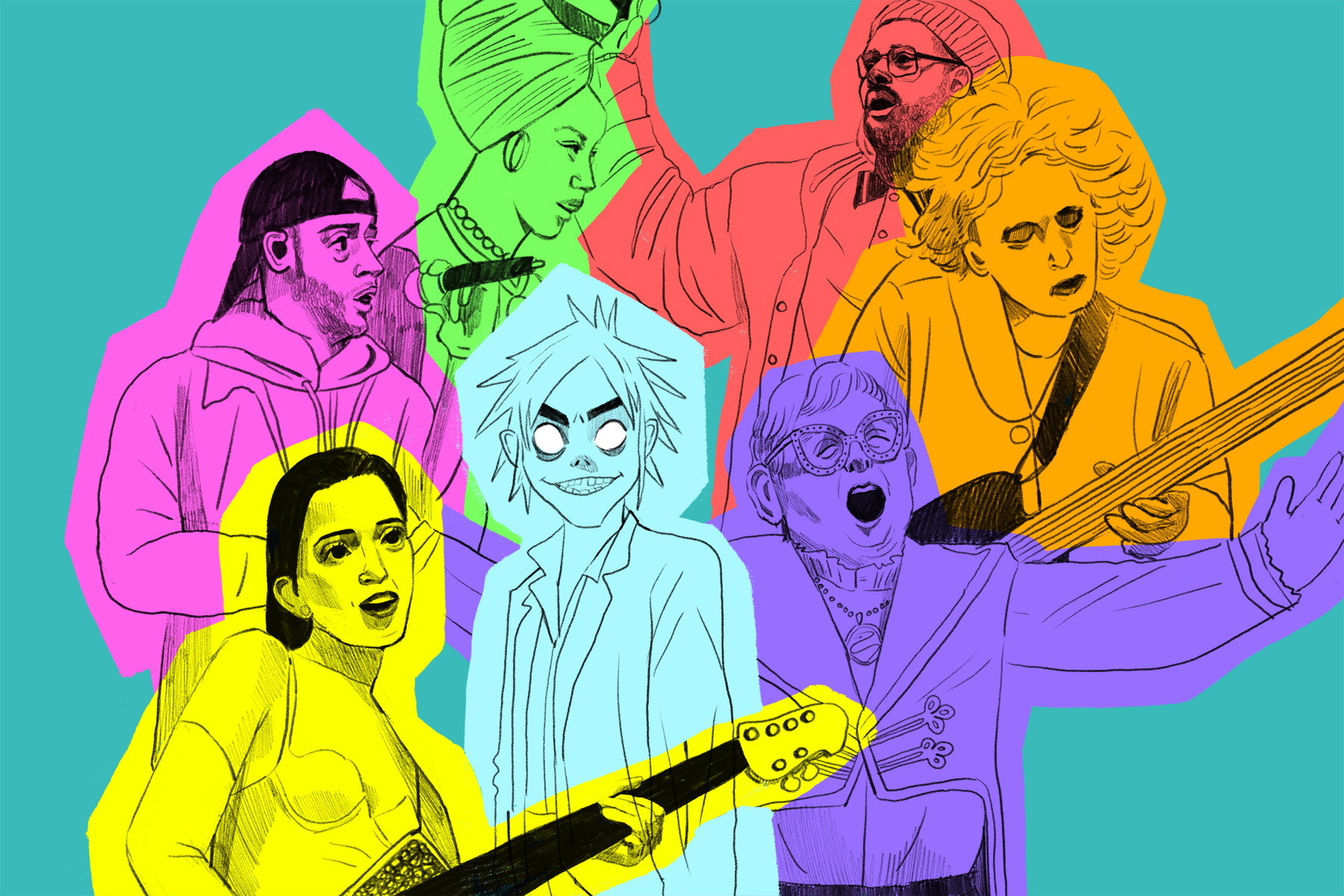 An illustration of the virtual band Gorillaz