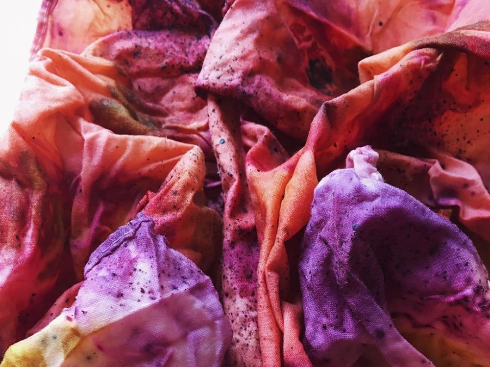 Image of material that has experienced natural dyeing