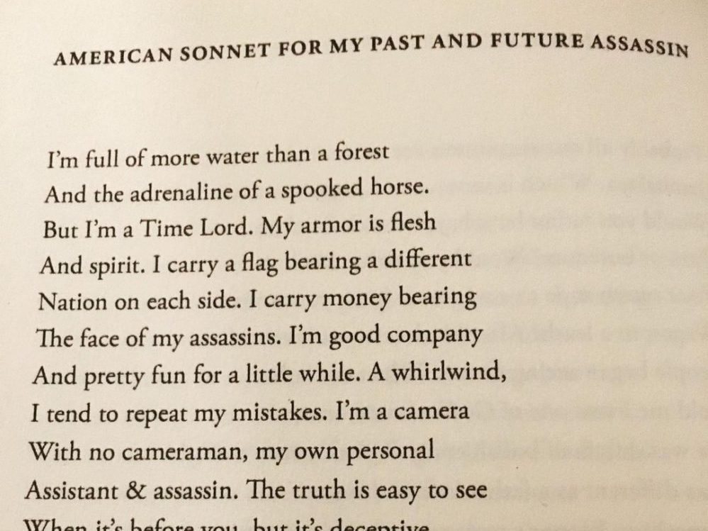 """in an article about Black poetry, an excerpt from Terrance Hayes' poetry collect """"American Sonnets For My Past and Future Assassin"""""""