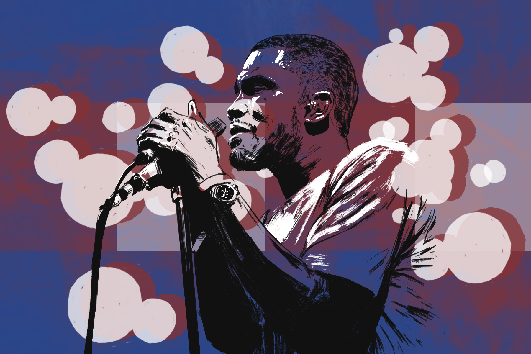 Illustration of Frank Ocean by Marcus Escobar for an article on avant-garde music