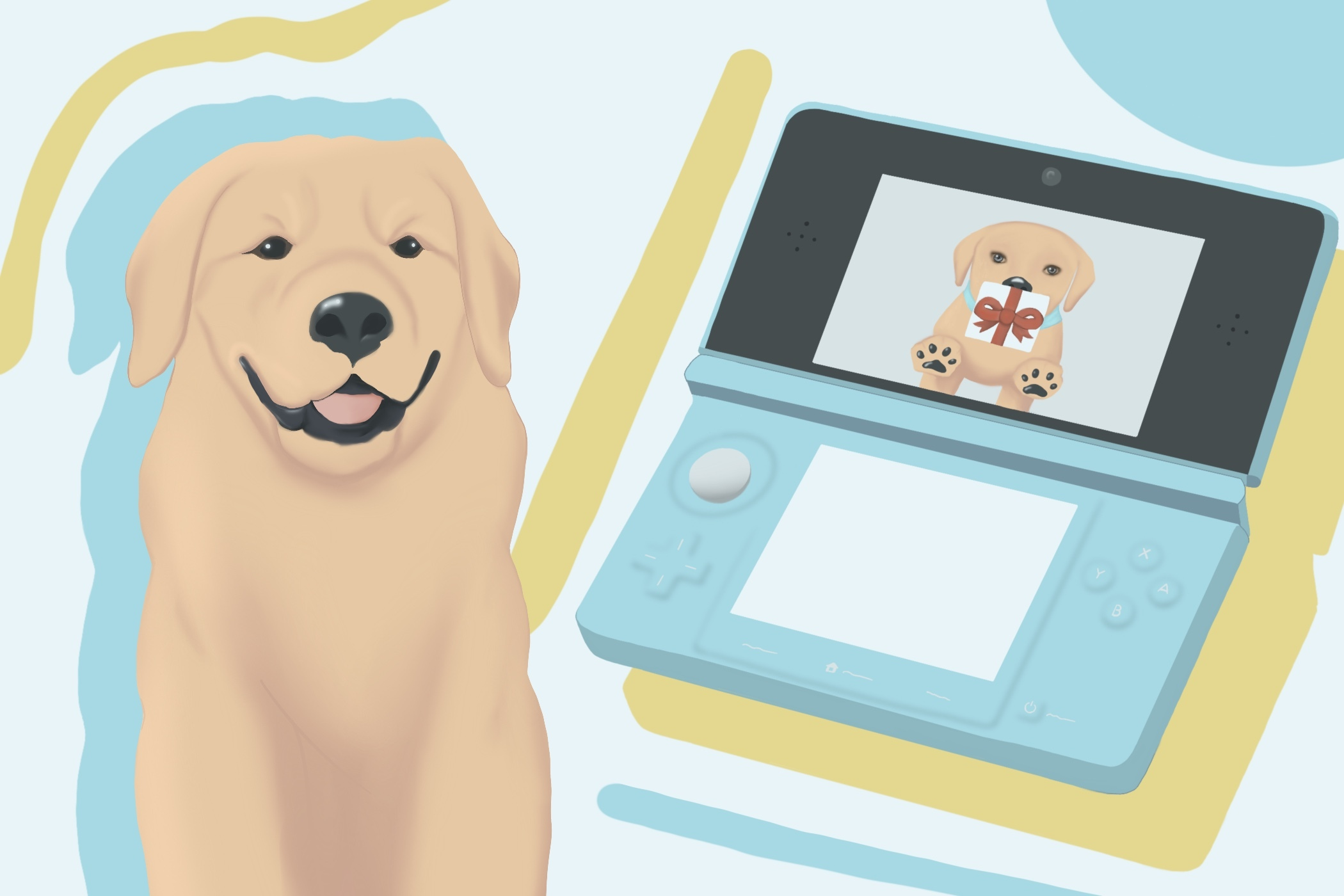 "Real dog vs ""Nintendog"" virtual dog"