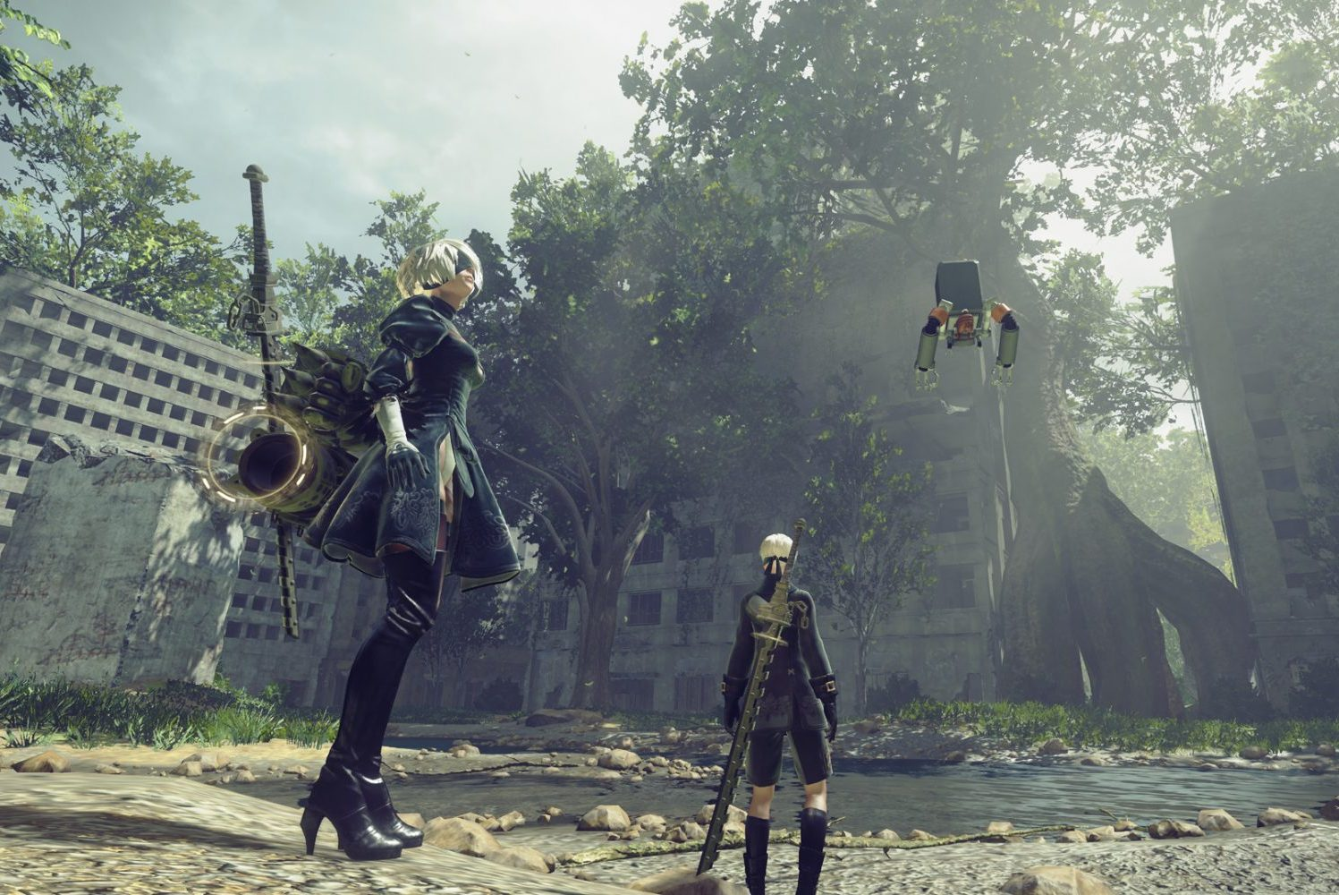 Screenshot from Nier: Automata in article about apocalyptic-themed games