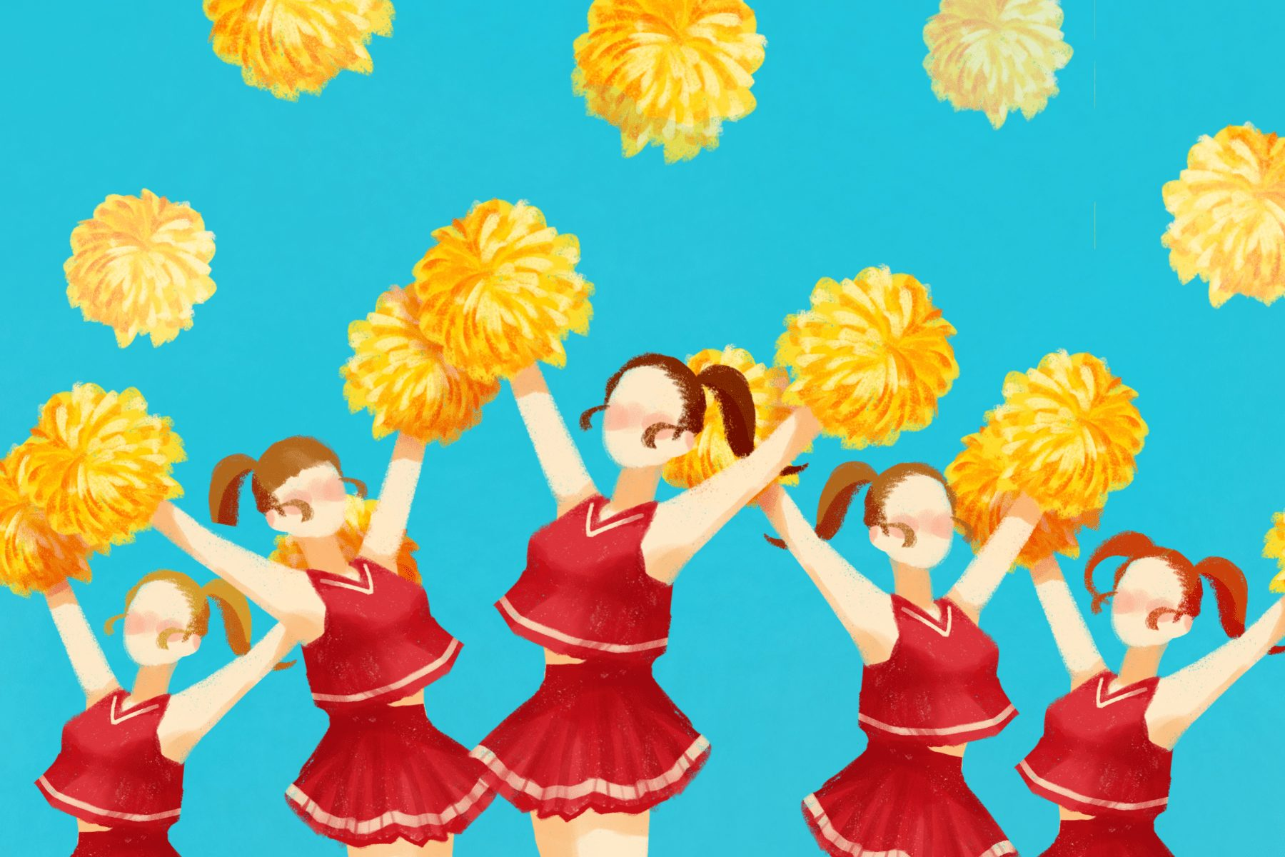 Illustration of cheerleaders in an article about the Cheer documentary on Netflix. (Illustration by Eri Iguchi, Minneapolis College of Art and Design)
