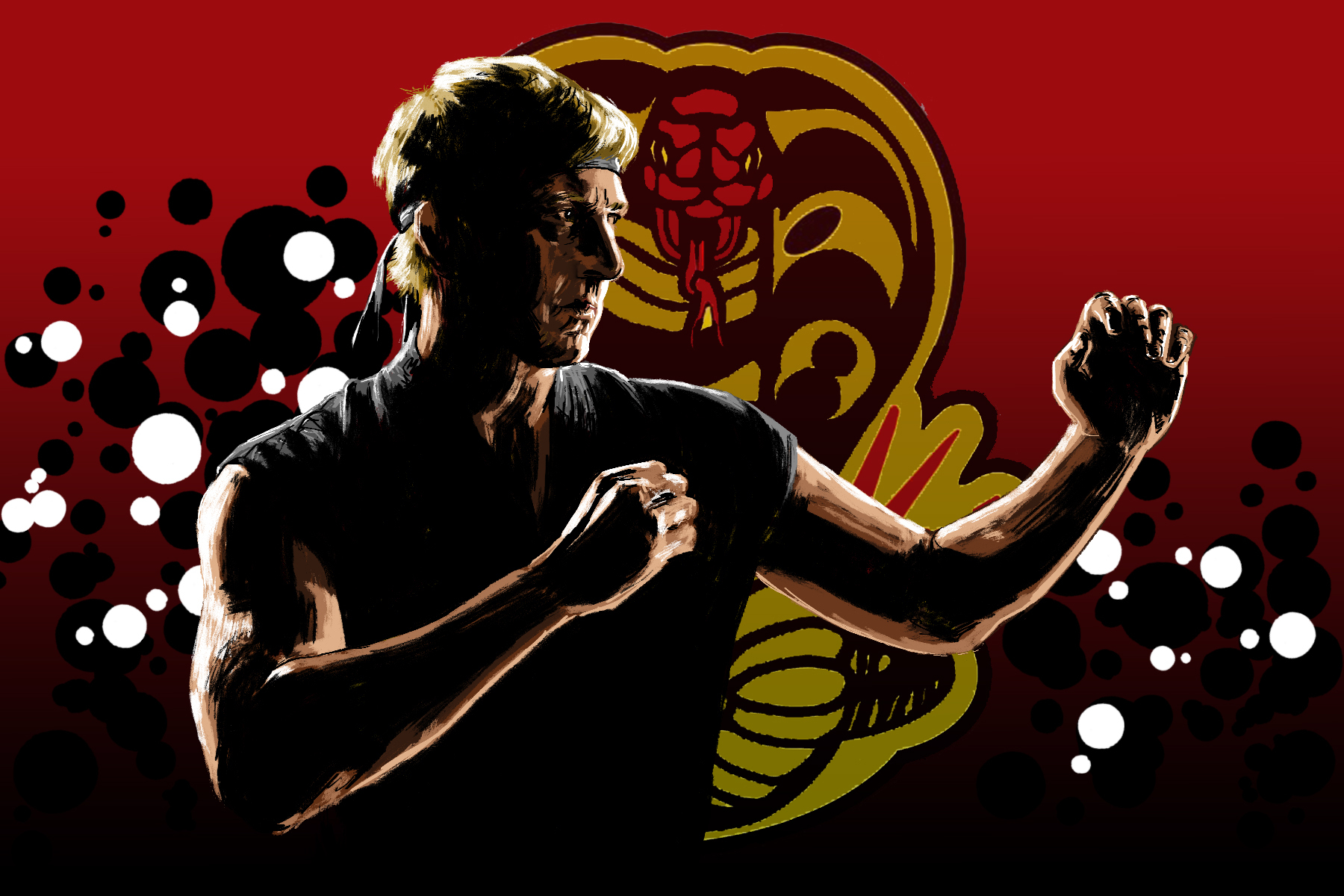 Illustration by Marcus Escobar for an article on Cobra Kai